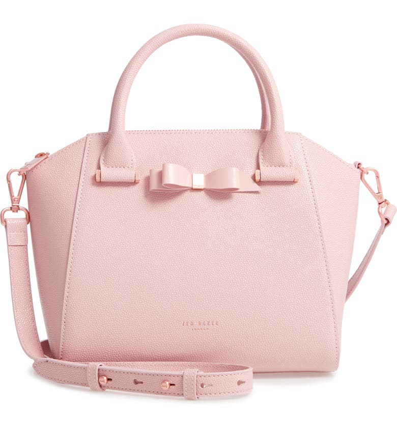 TED BAKER LONDON Janne Bow Leather Tote, Main, color, LIGHT PINK