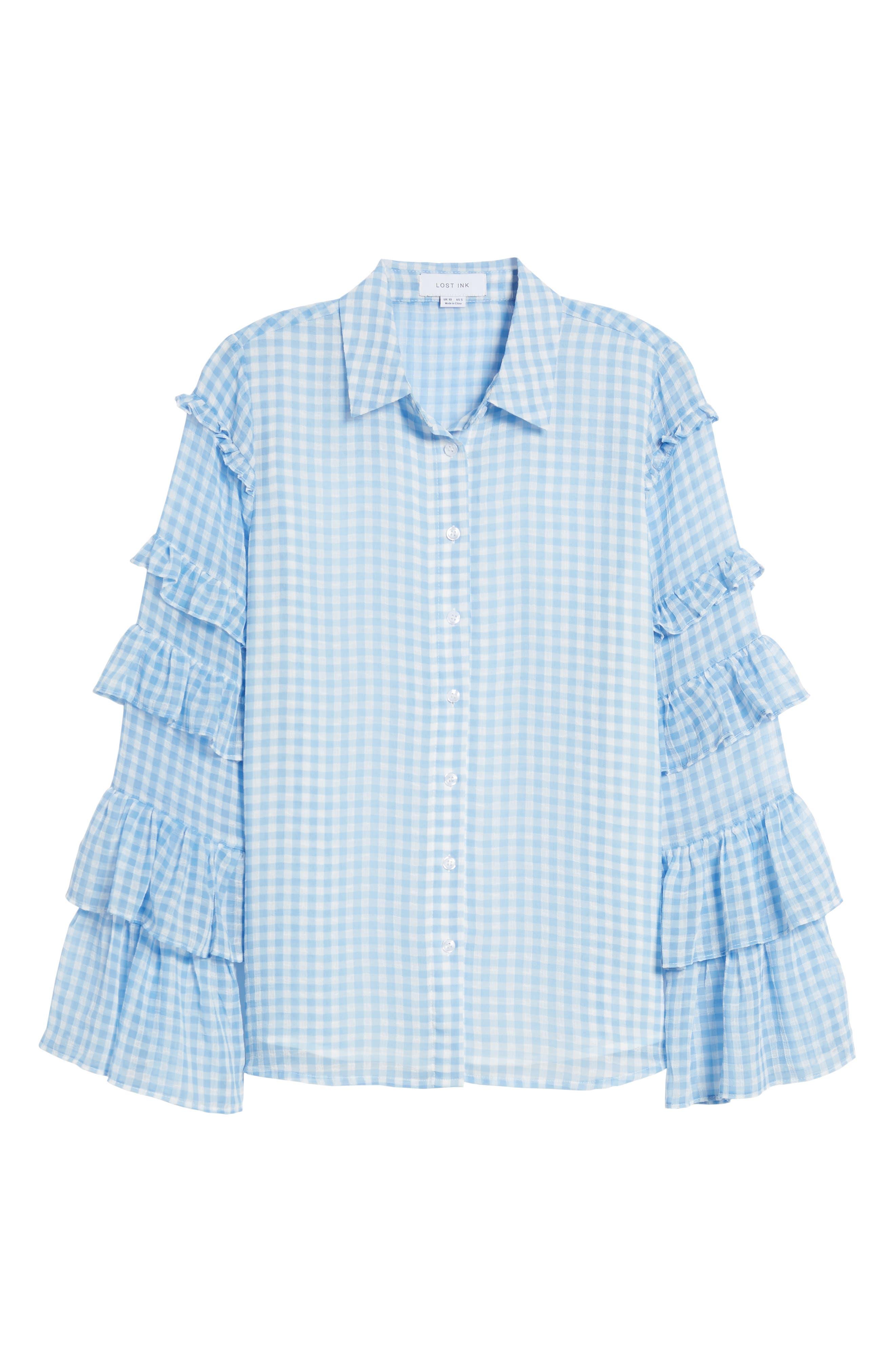 Ruffle Sleeve Shirt,                             Alternate thumbnail 7, color,                             400