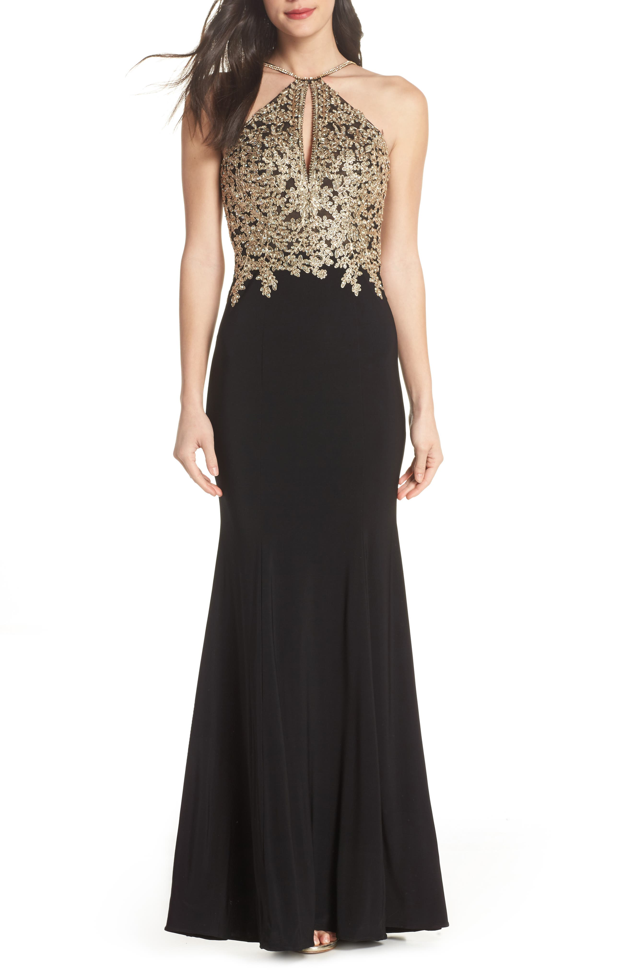 XSCAPE Gold Embroidery Halter Neck Gown, Main, color, 001