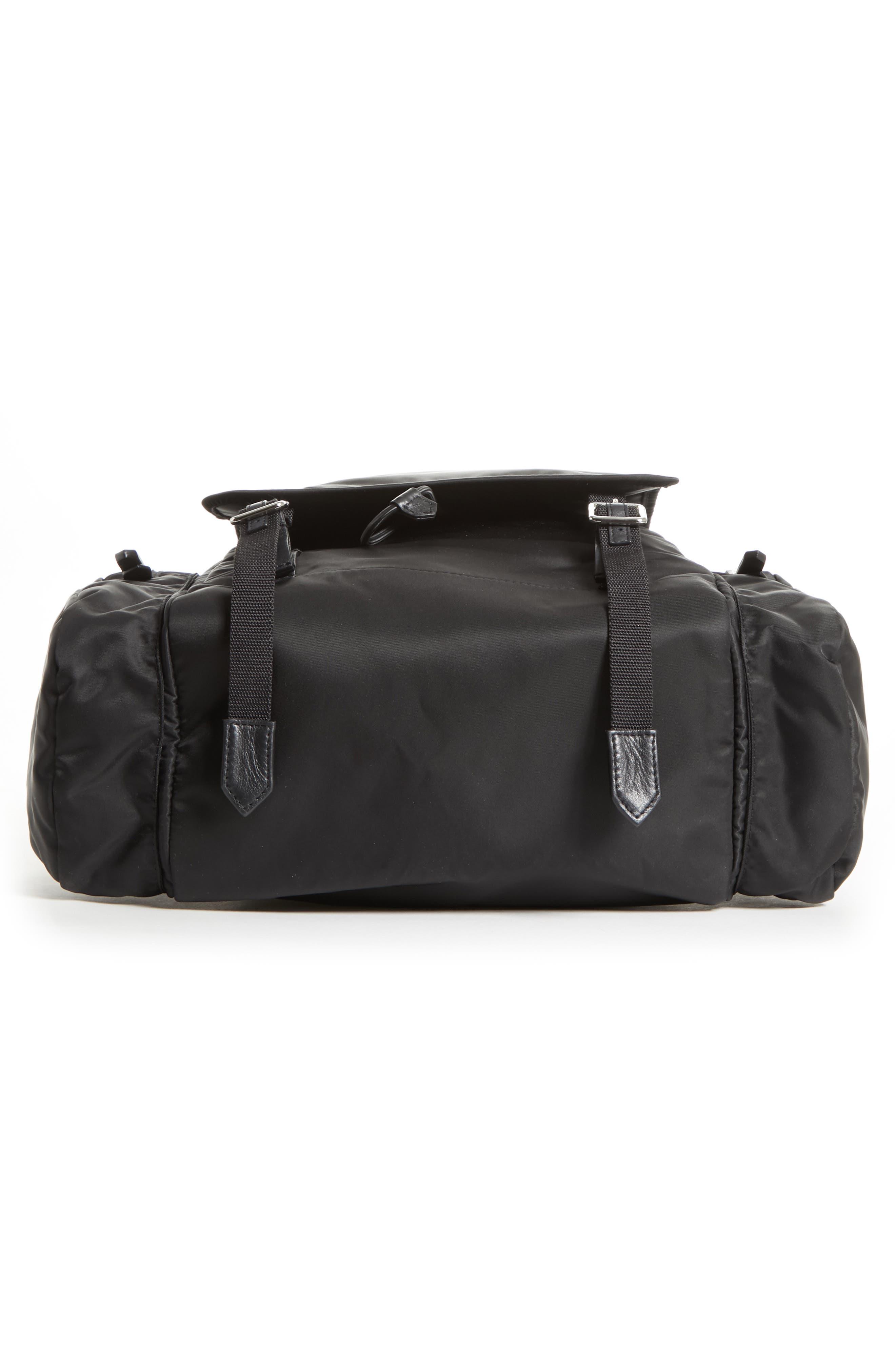 Nylon Flap Backpack,                             Alternate thumbnail 6, color,                             BLACK