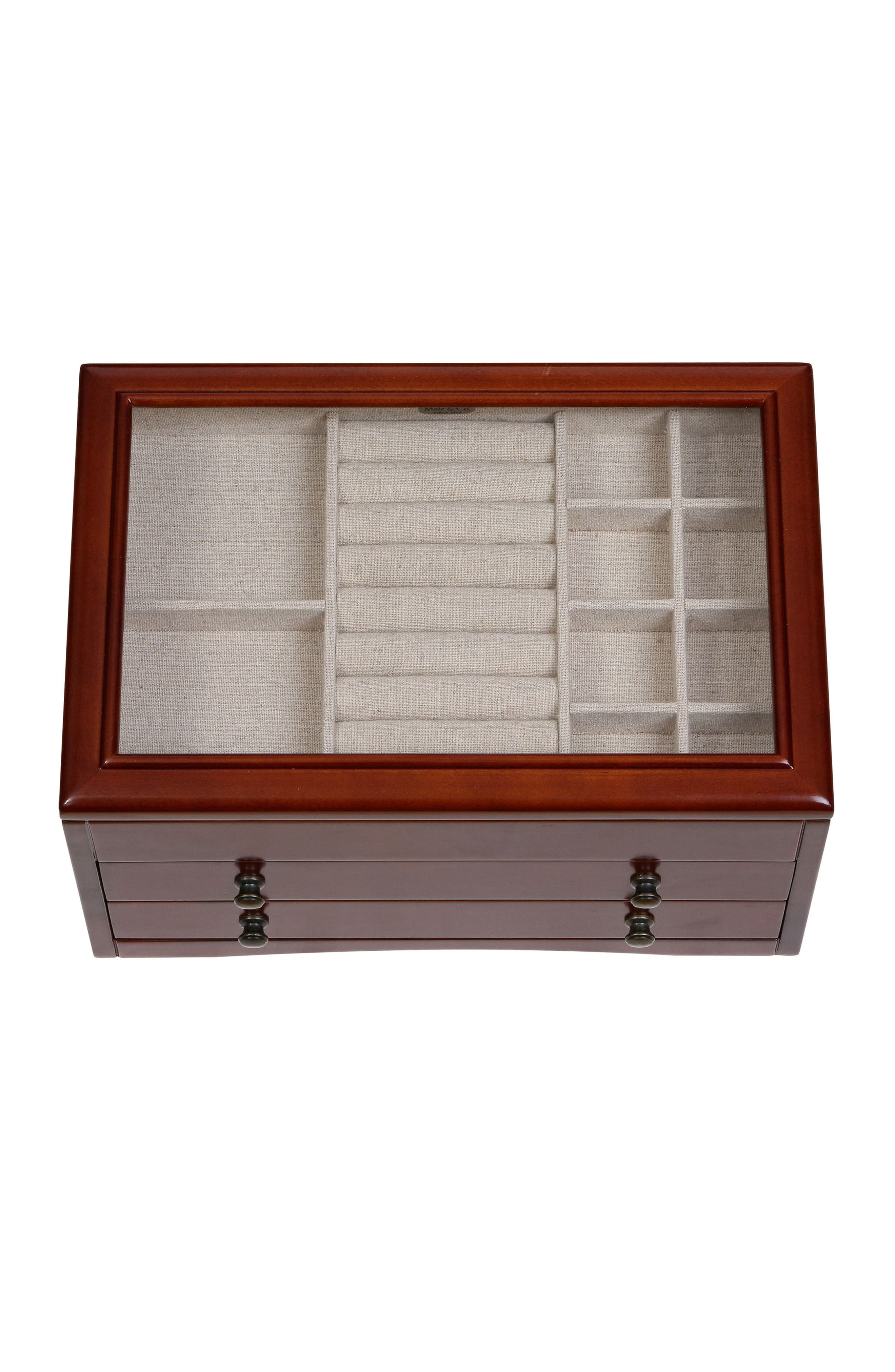 Haywood Glass Top Jewelry Box,                             Alternate thumbnail 4, color,                             200