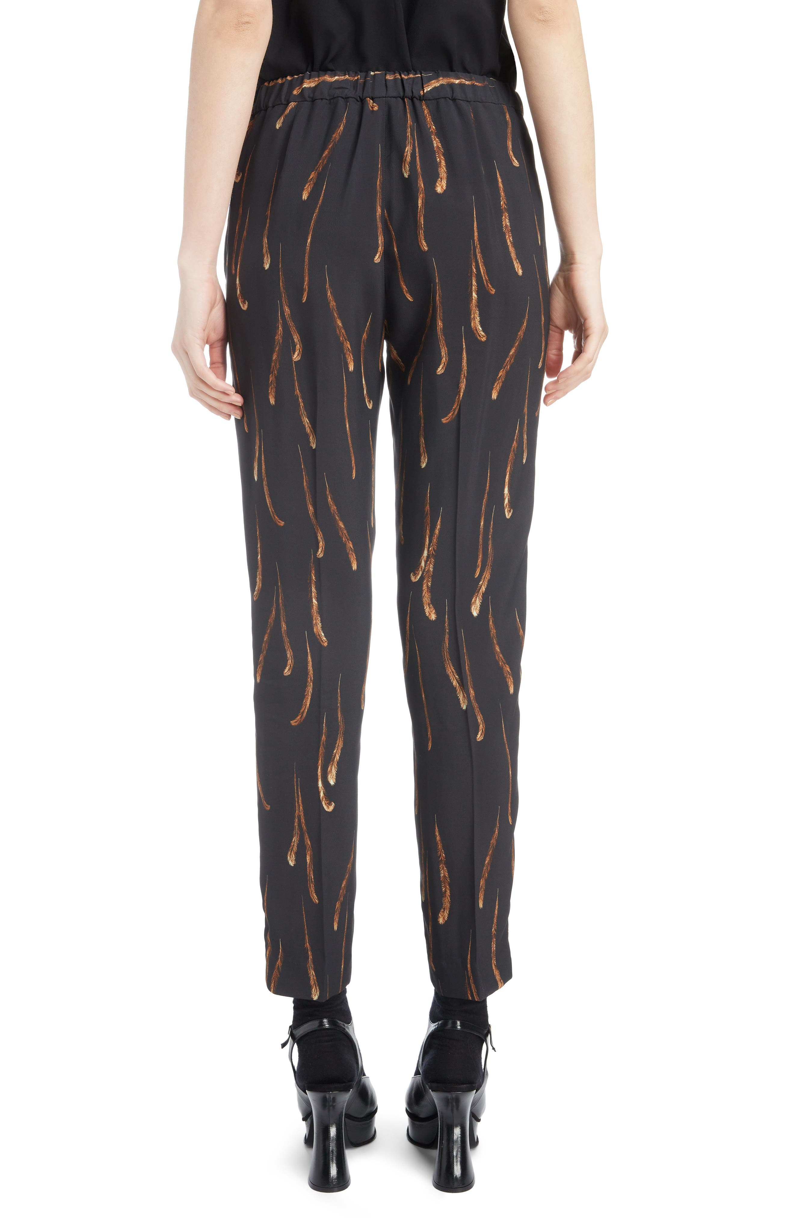 Feather Print Drawstring Crop Pants,                             Alternate thumbnail 2, color,                             BLACK