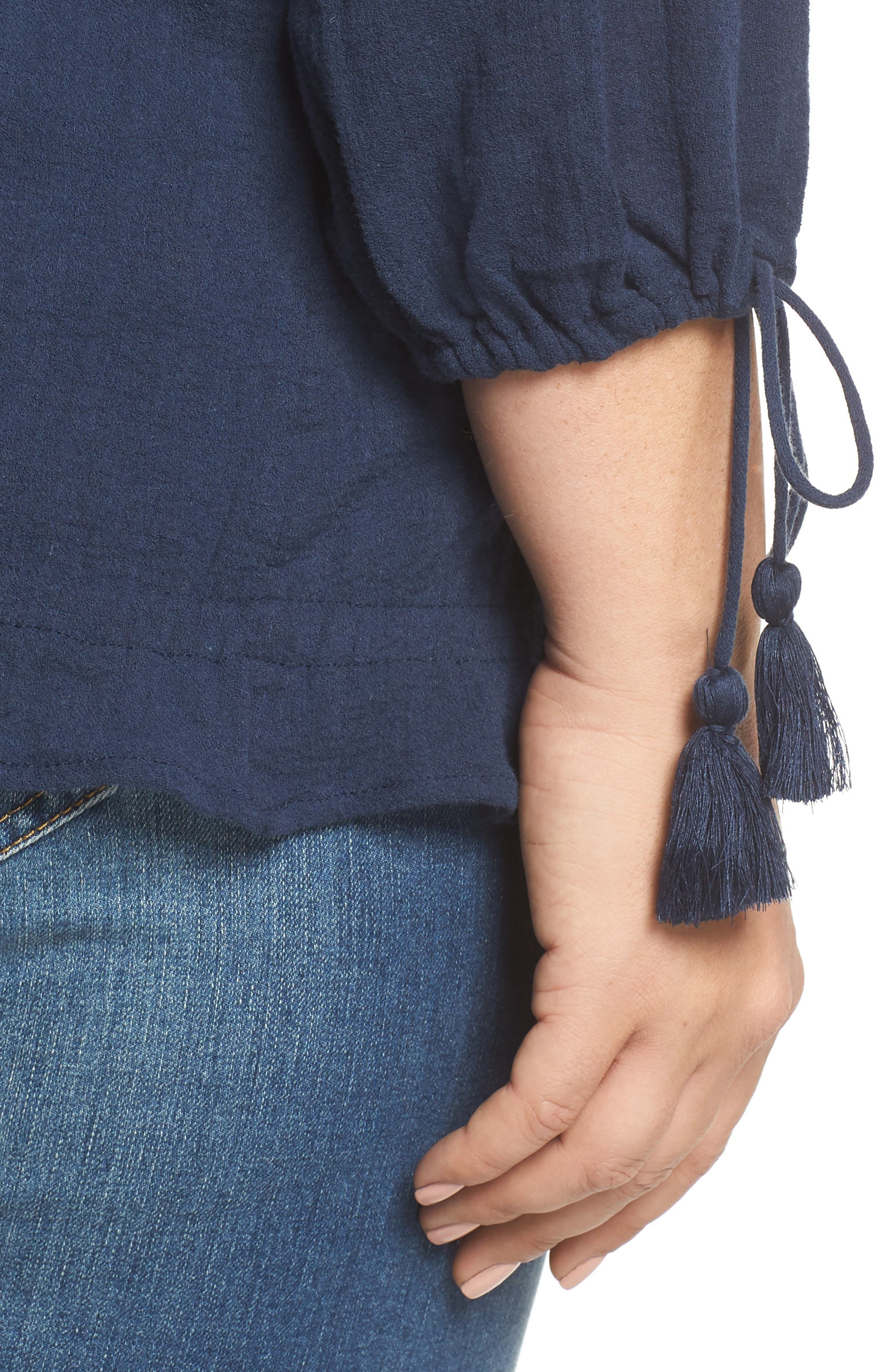 Embroidered Tassel Top,                             Alternate thumbnail 4, color,                             410