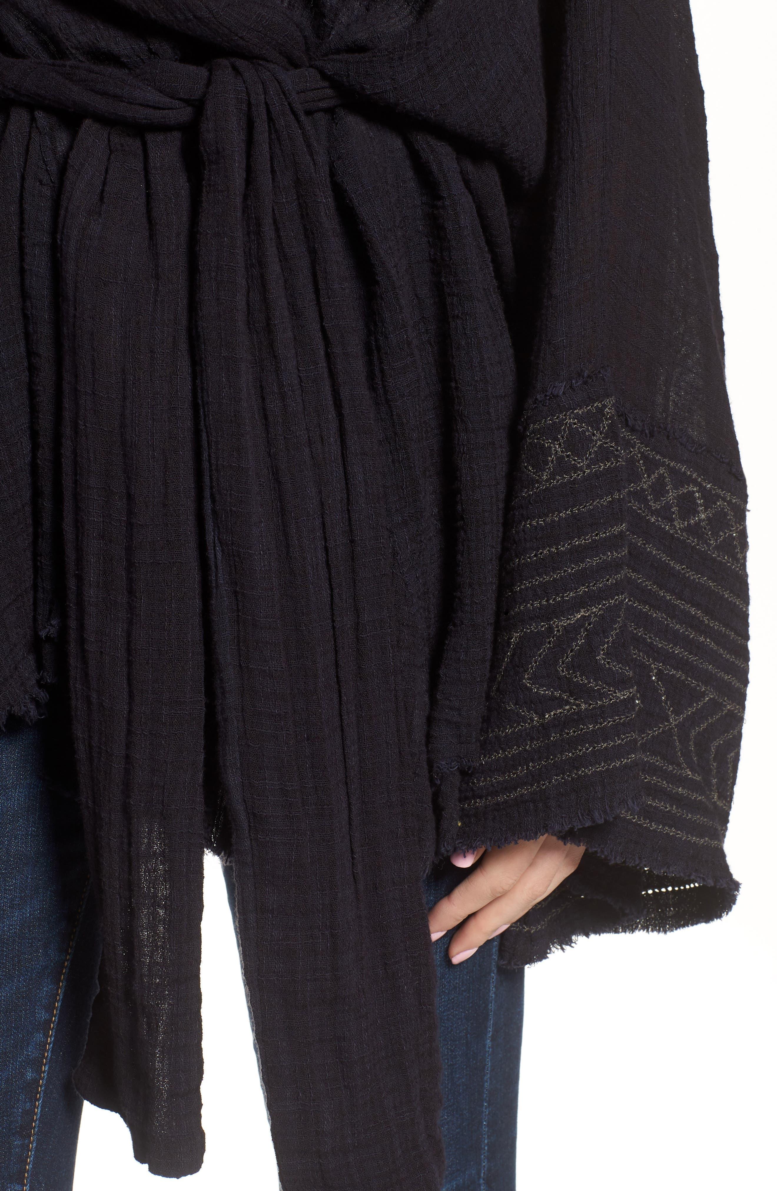 Tie Wrap Kimono,                             Alternate thumbnail 4, color,                             BLACK