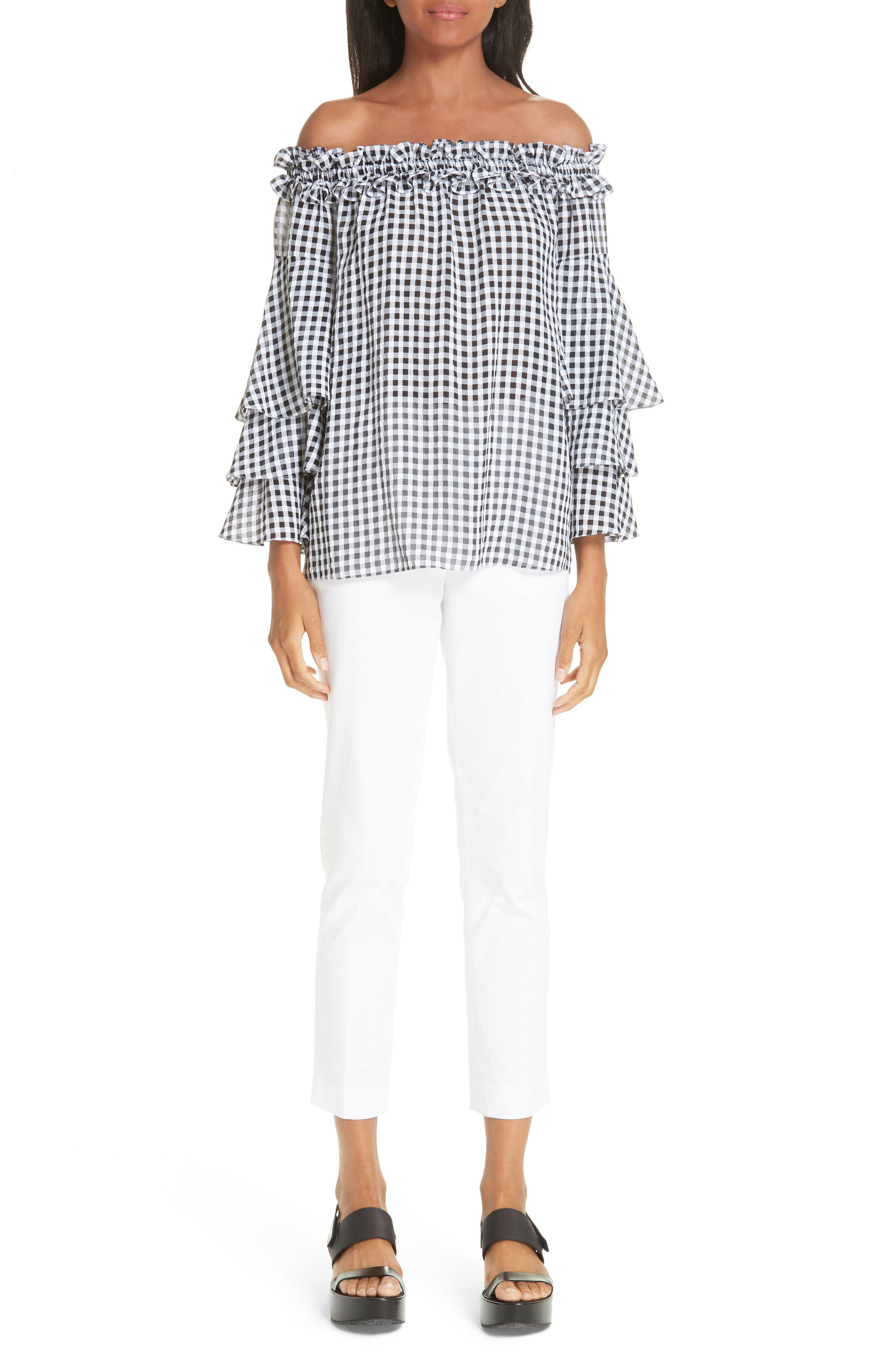 Gingham Tiered Sleeve Off the Shoulder Top,                             Alternate thumbnail 7, color,                             BLACK/ OPTIC WHITE