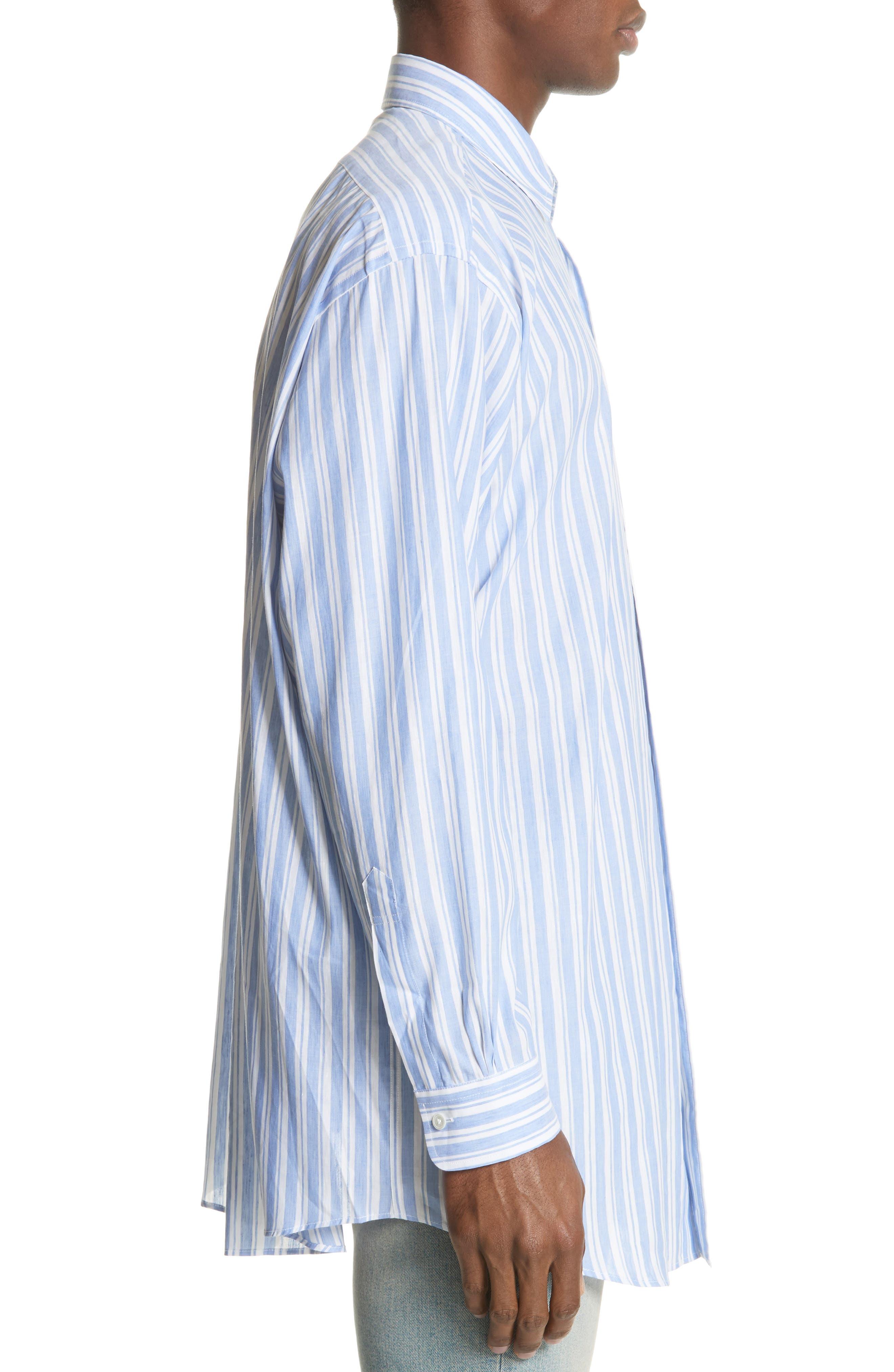 Oversized Stripe Chambray Shirt,                             Alternate thumbnail 3, color,                             460