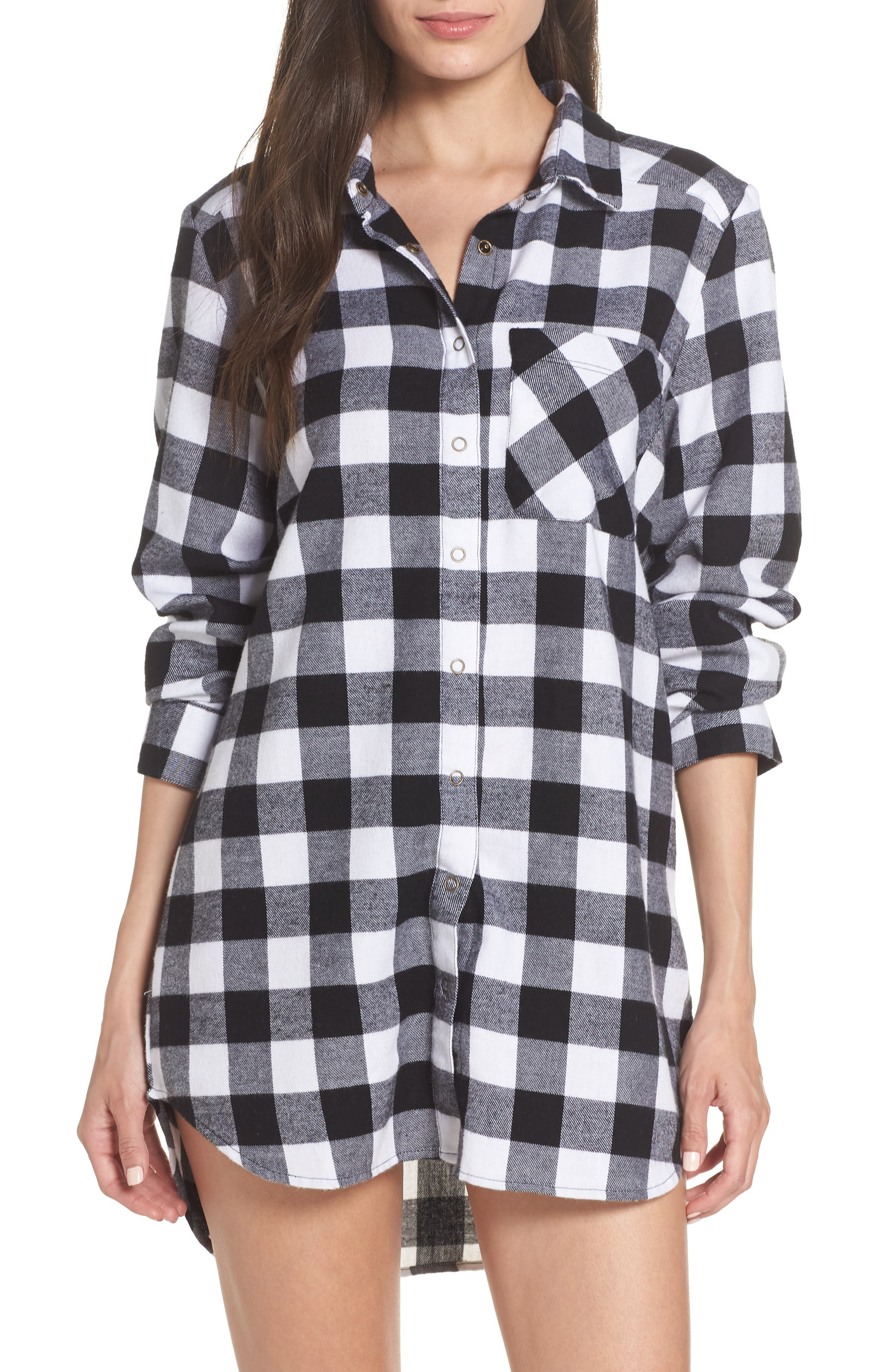 Flannel Nightshirt,                         Main,                         color, 002