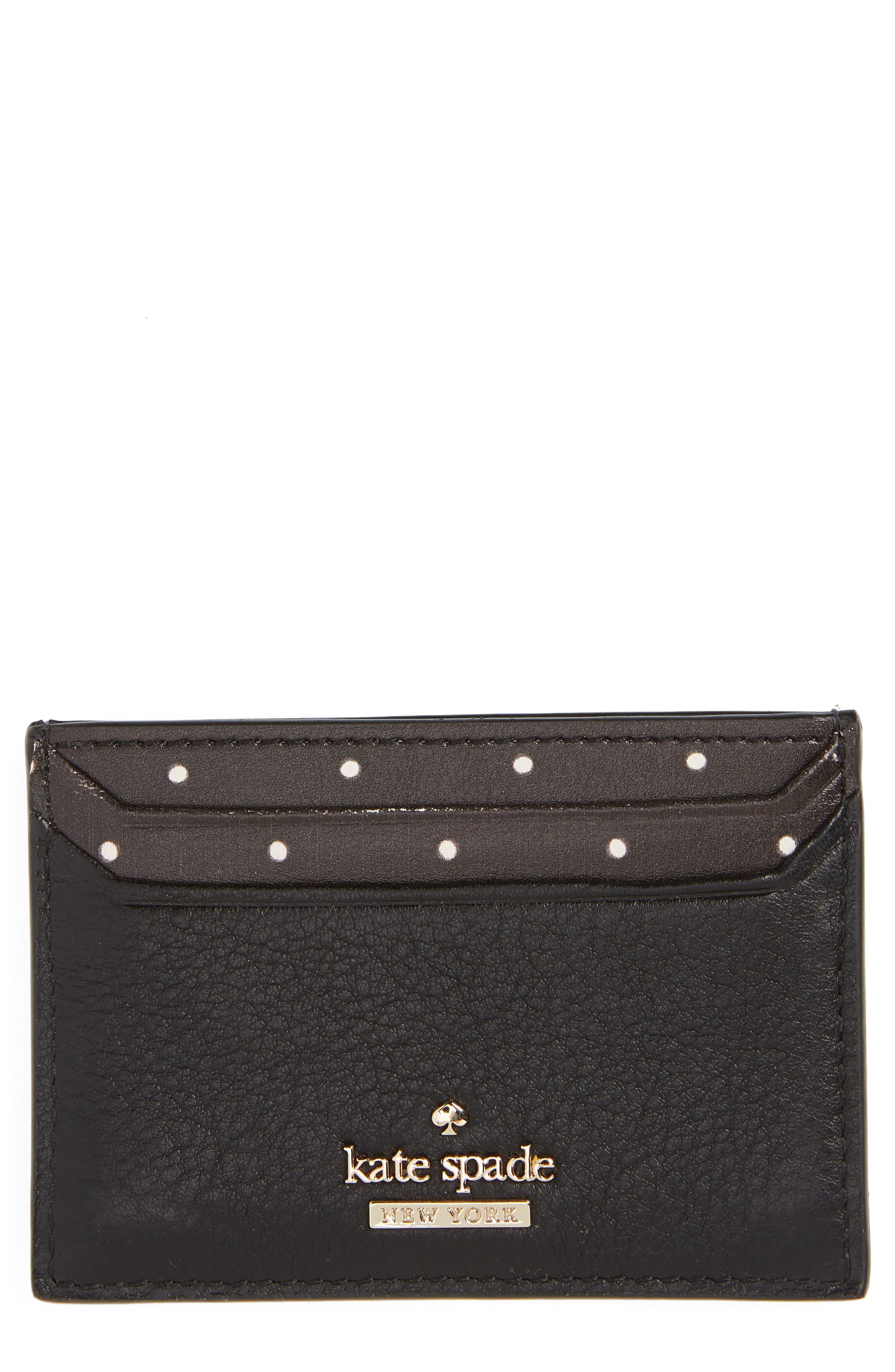 blake street - dot lynleigh leather card case,                             Main thumbnail 1, color,                             BLACK