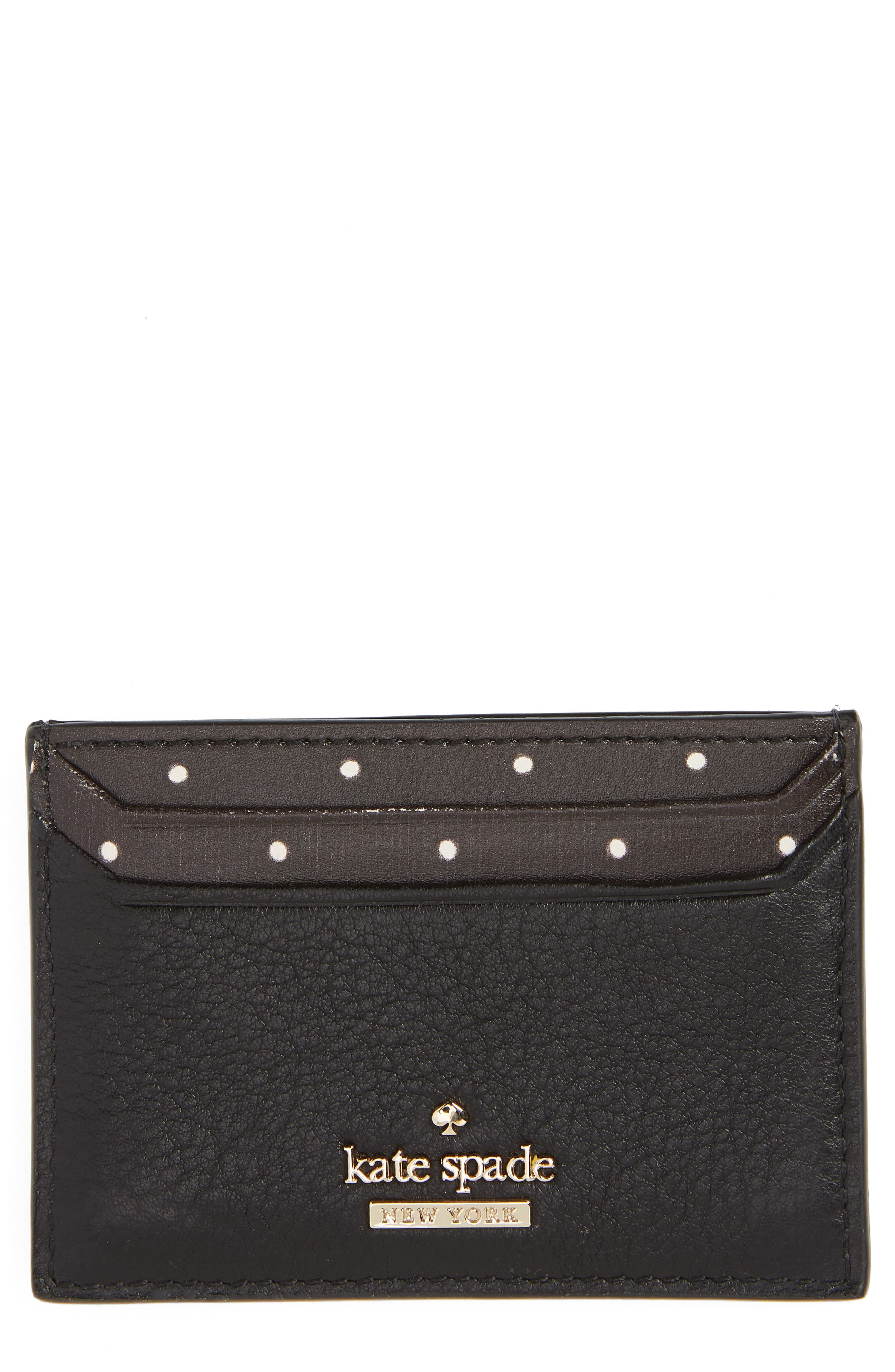blake street - dot lynleigh leather card case,                         Main,                         color, BLACK