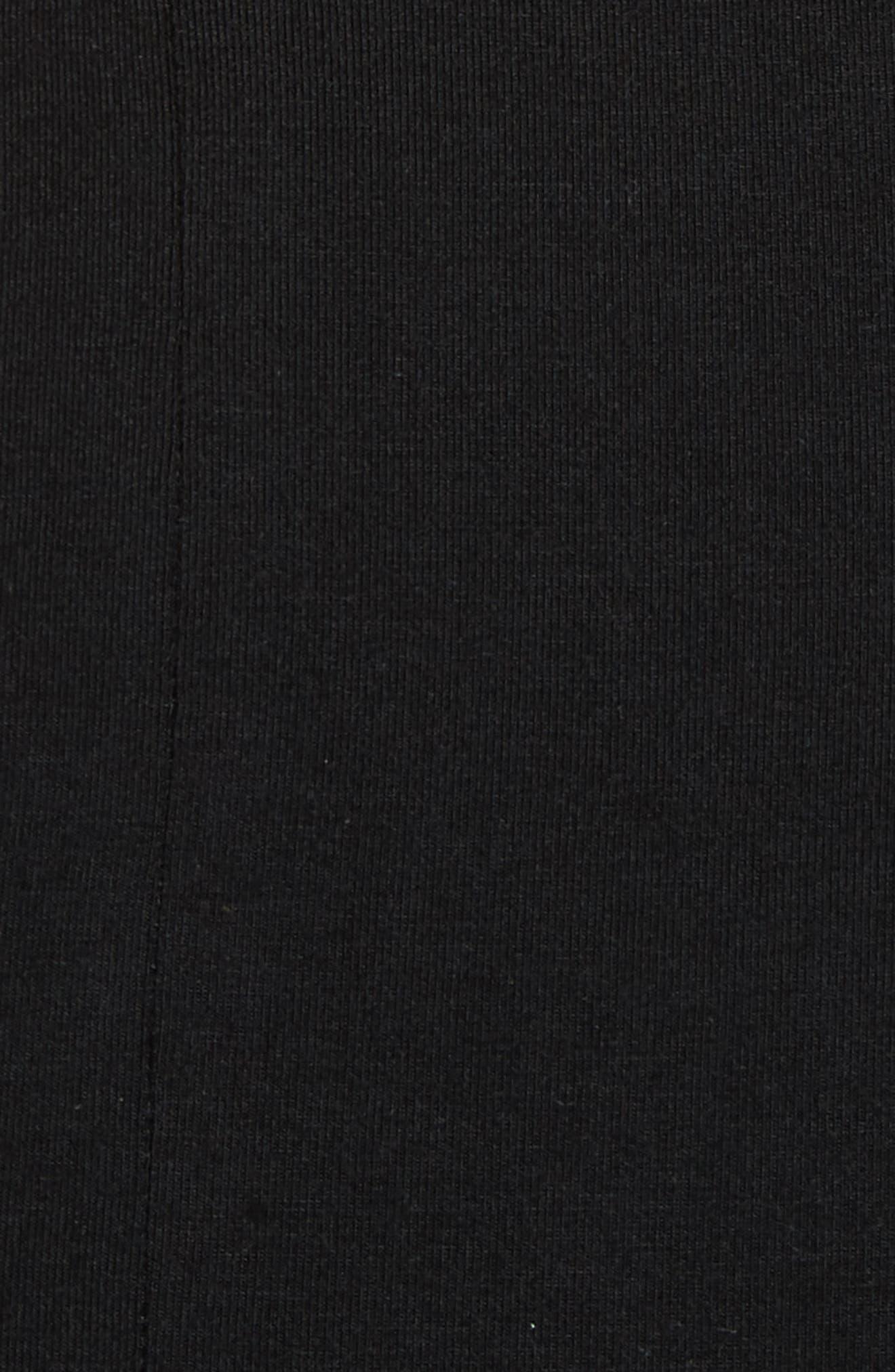 Lace-Up Stretch Jersey Midi Dress,                             Alternate thumbnail 5, color,                             001