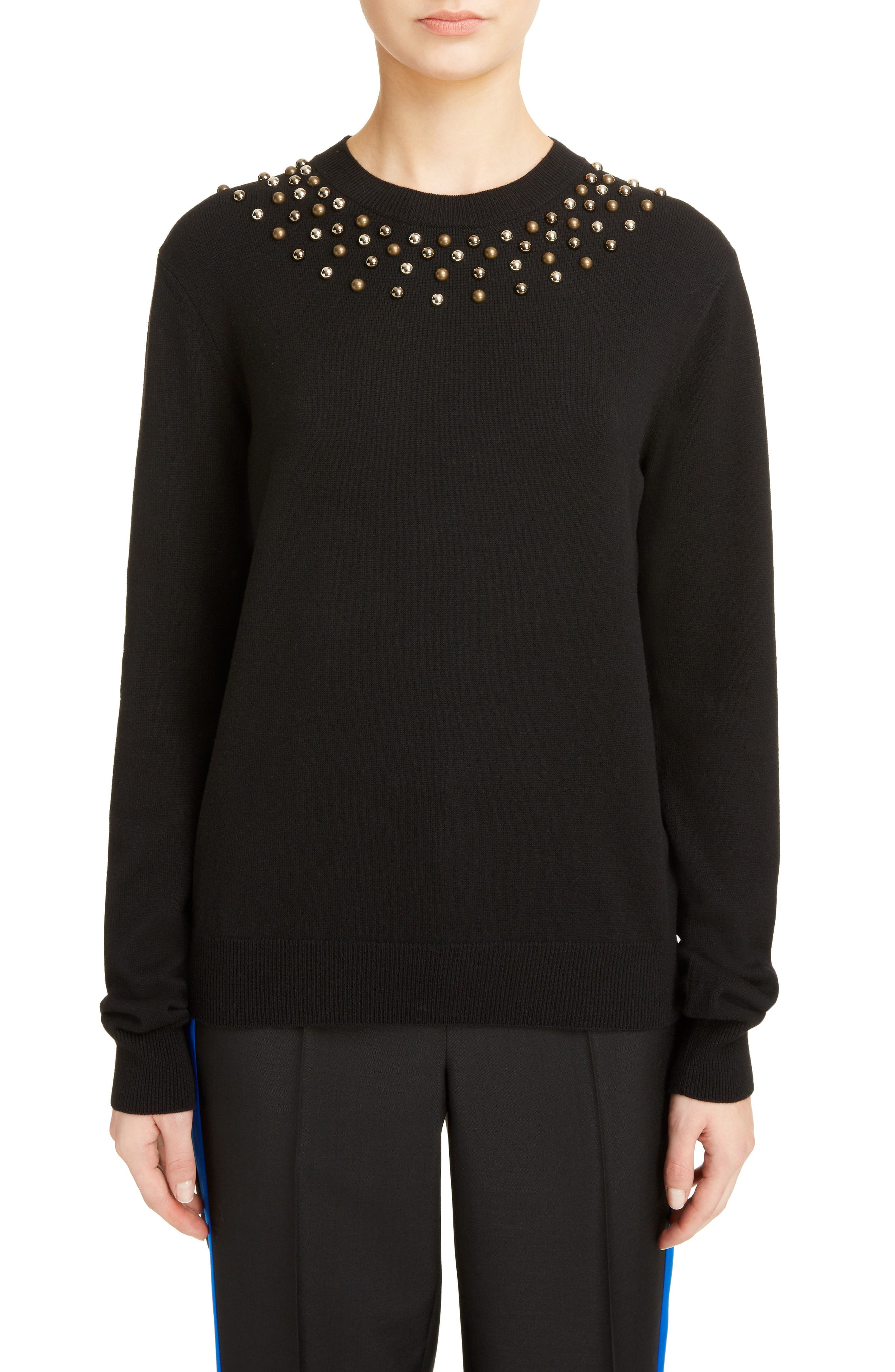 Studded Wool & Cashmere Sweater,                             Main thumbnail 1, color,                             BLACK