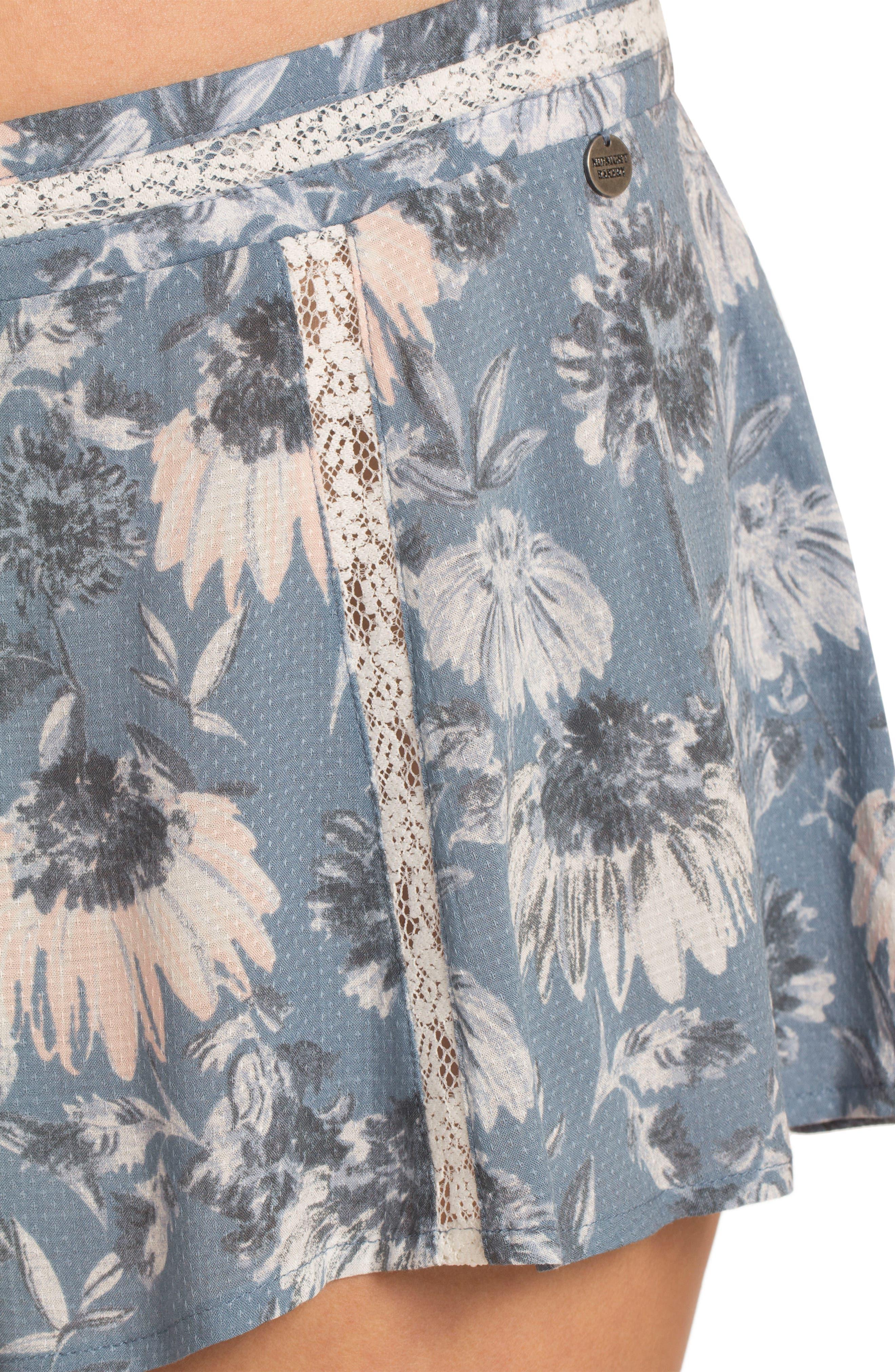 Floral Pajama Shorts,                             Alternate thumbnail 4, color,                             406