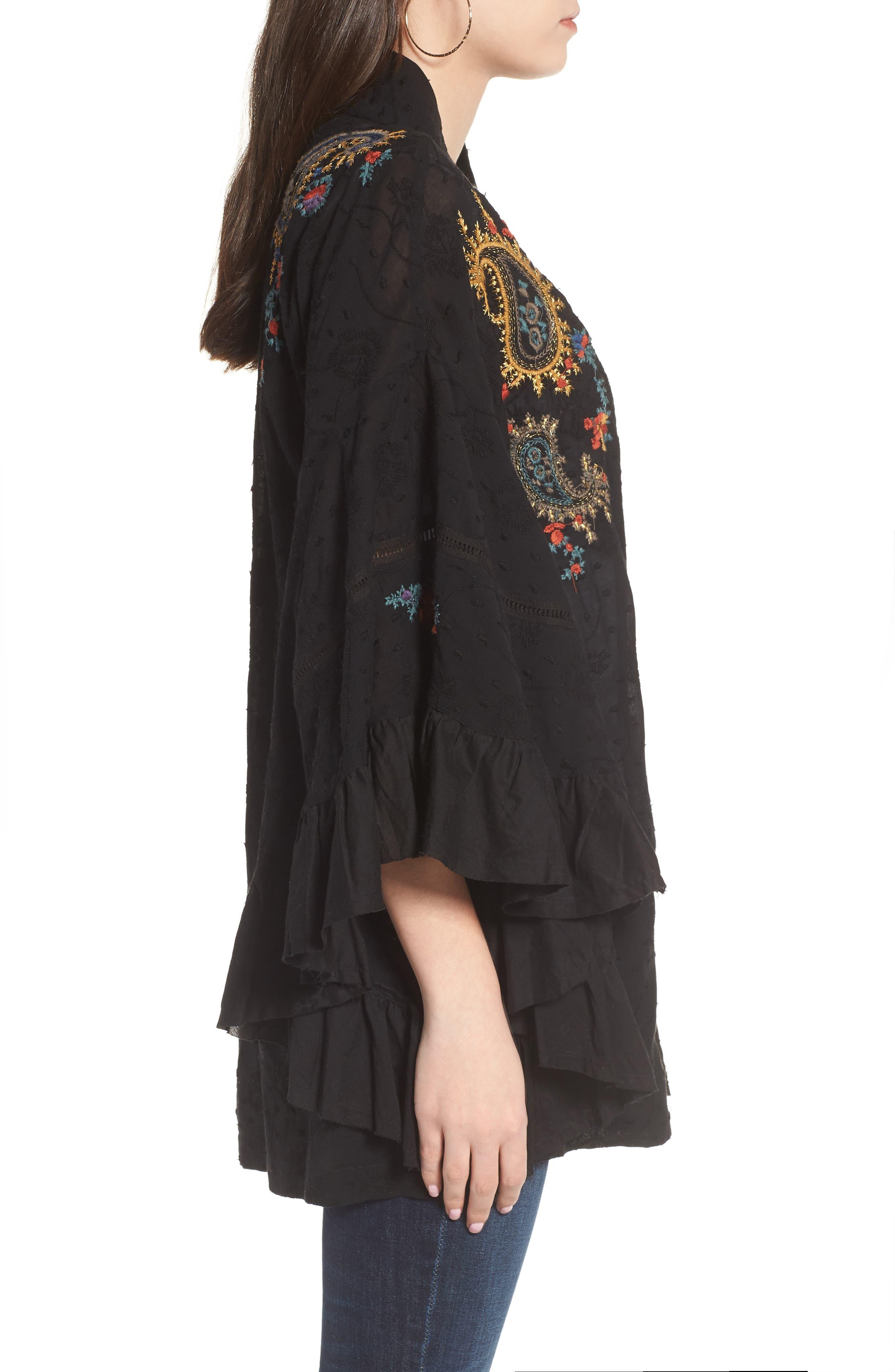 Dottie West Kimono,                             Alternate thumbnail 3, color,                             BLACK