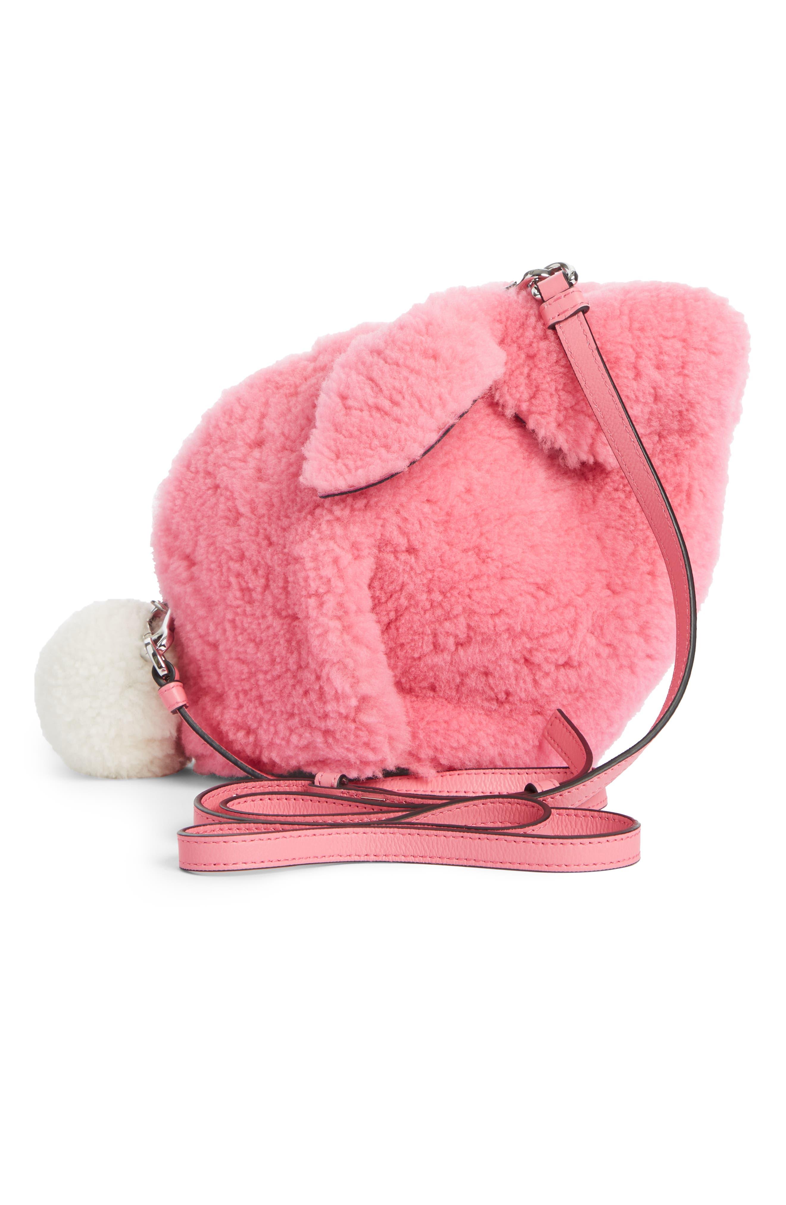 Mini Bunny Fuzzy Genuine Shearling Crossbody Bag,                             Alternate thumbnail 3, color,                             654