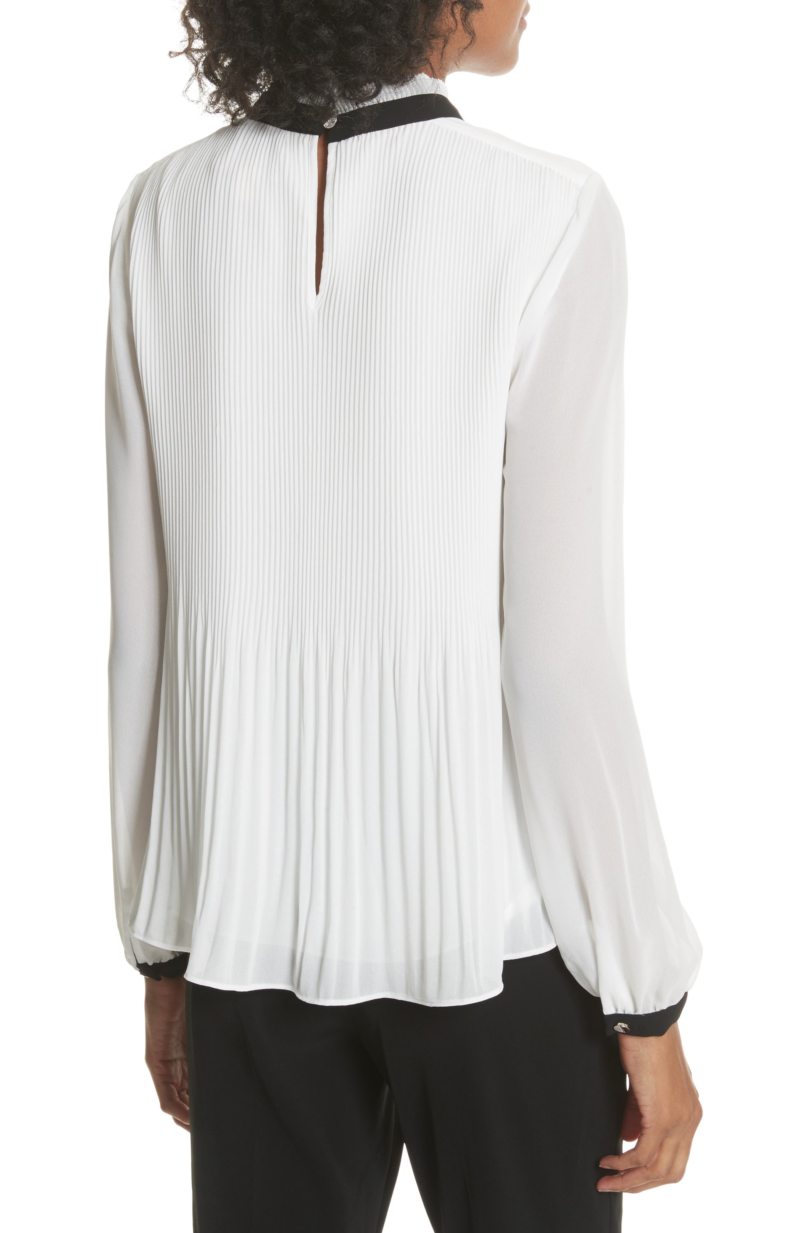 Pleated High Neck Chiffon Top,                             Alternate thumbnail 2, color,