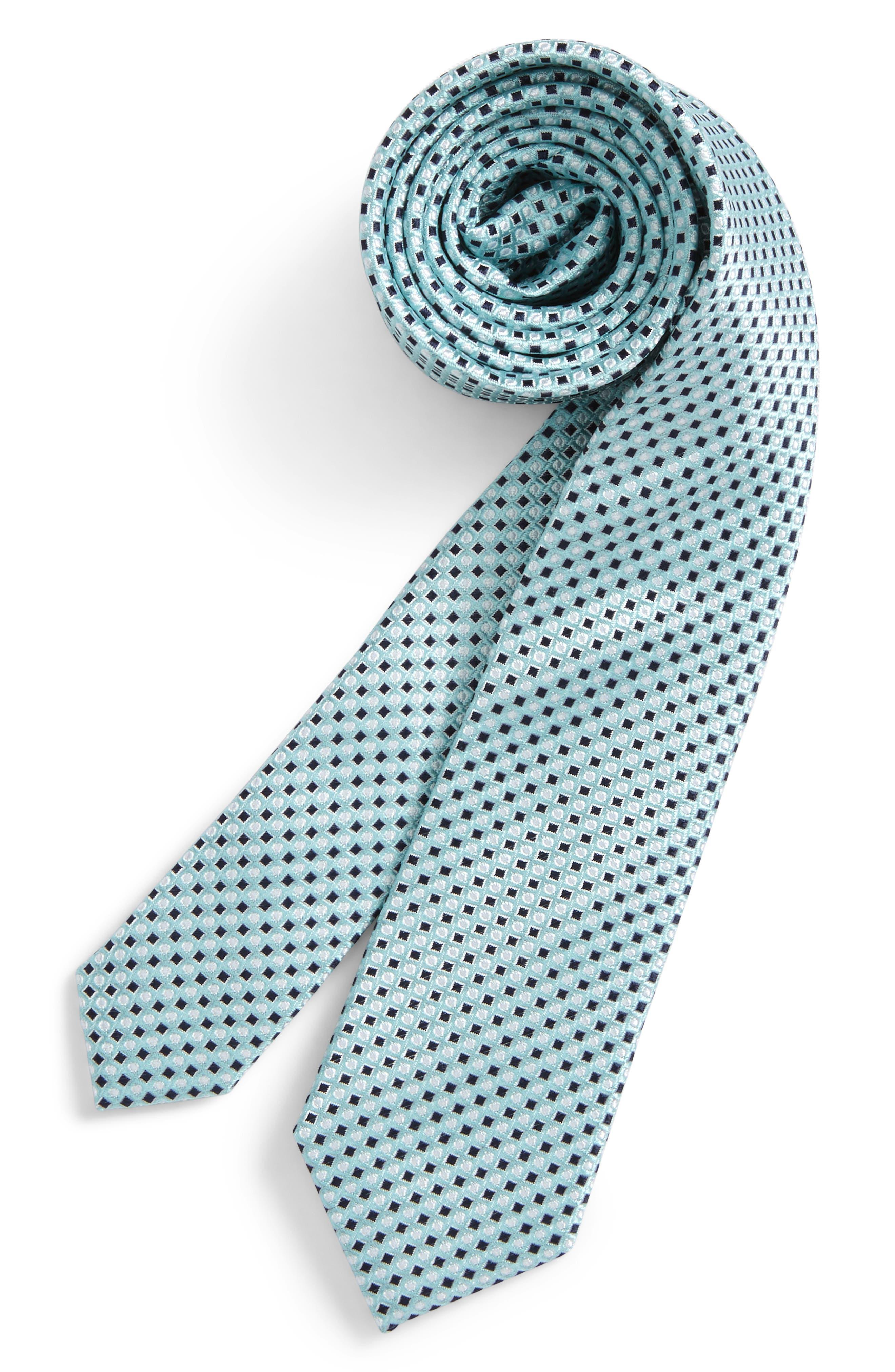 Diamonds & Dots Print Silk Tie,                             Main thumbnail 2, color,