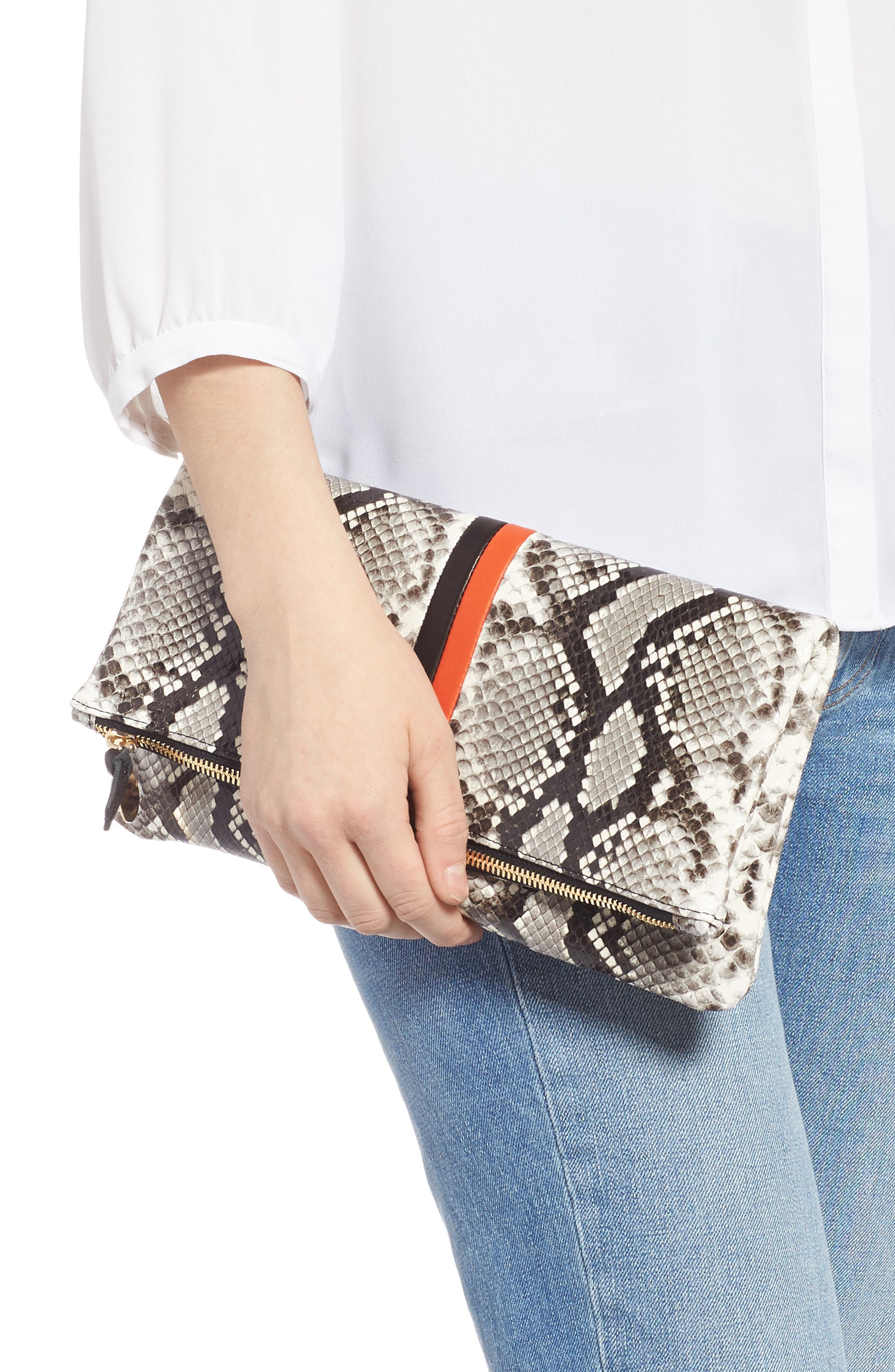 Python Embossed Leather Foldover Clutch,                             Alternate thumbnail 2, color,                             BLACK PYTHON WITH STRIPES