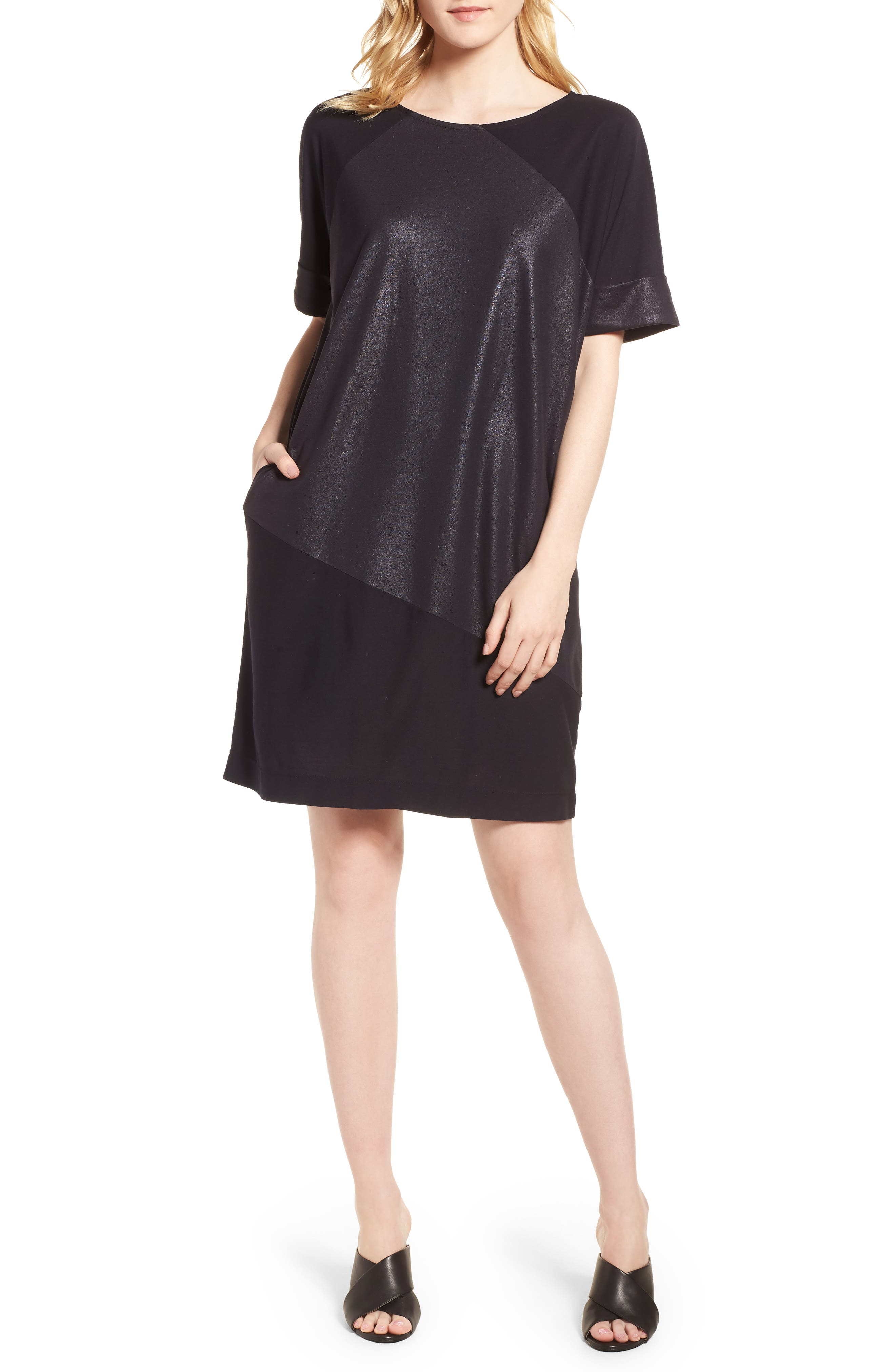 Glitter Block T-Shirt Dress,                             Main thumbnail 1, color,                             BLACK