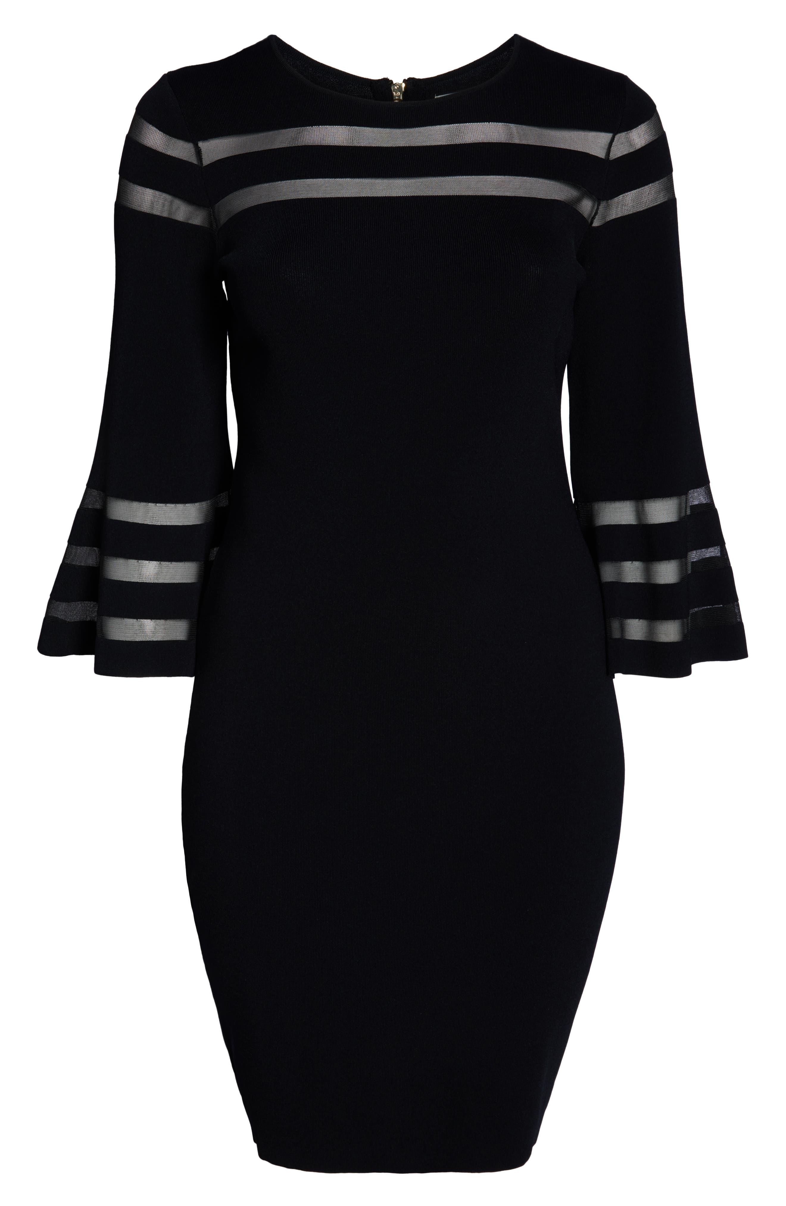 Mesh Stripe Sheath Dress,                             Alternate thumbnail 7, color,                             BLACK