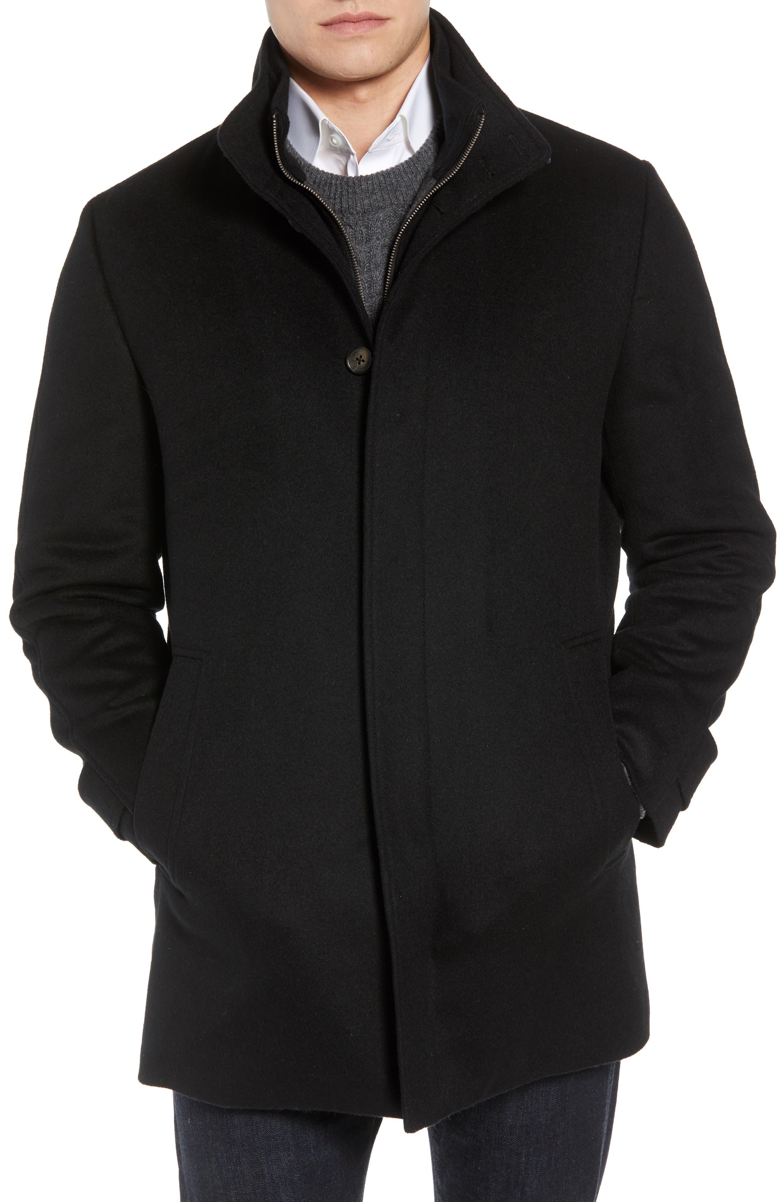 Hudson Wool Car Coat,                             Alternate thumbnail 4, color,                             BLACK