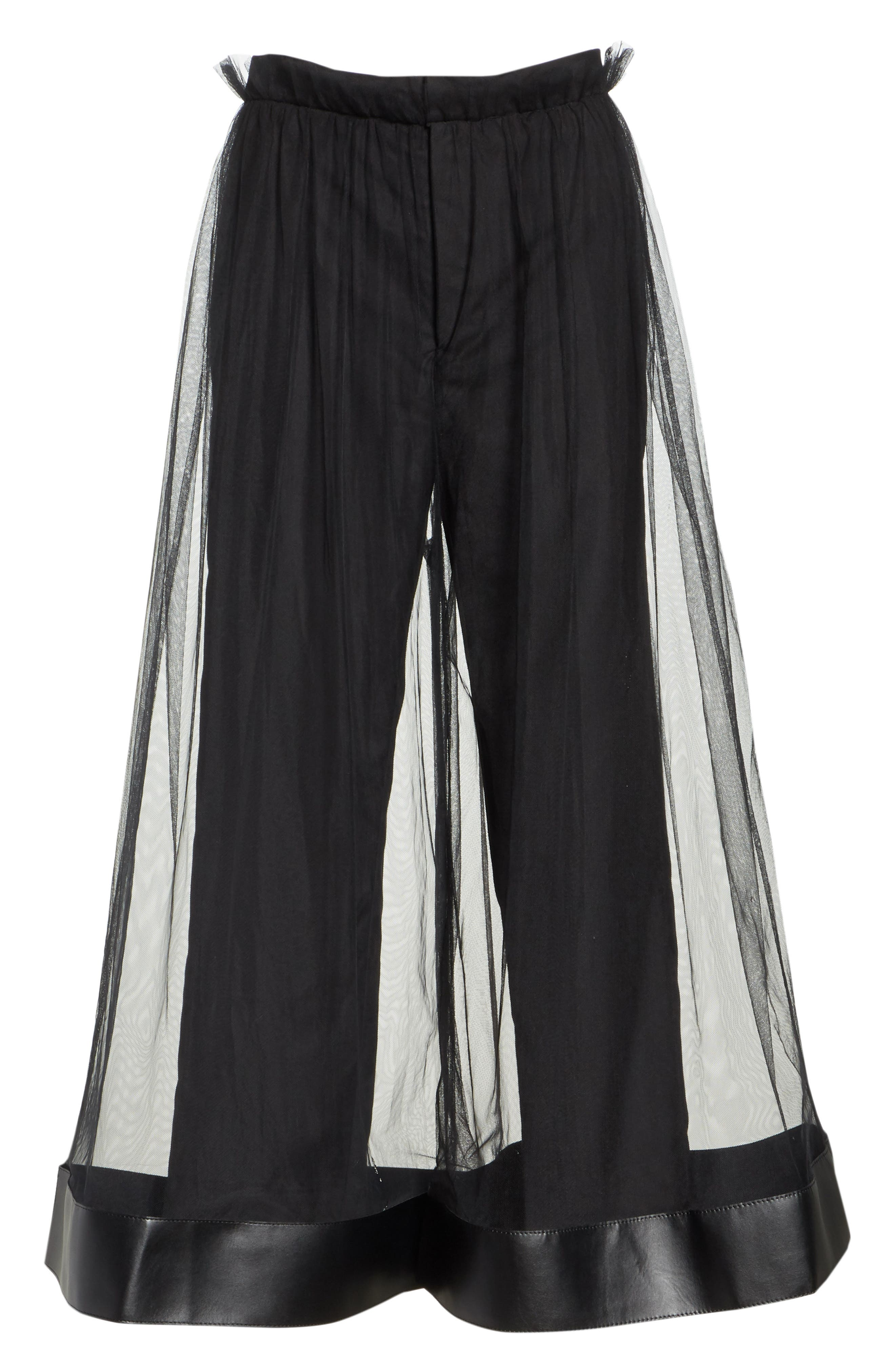 Tulle Overlay Crop Pants,                             Alternate thumbnail 6, color,                             001