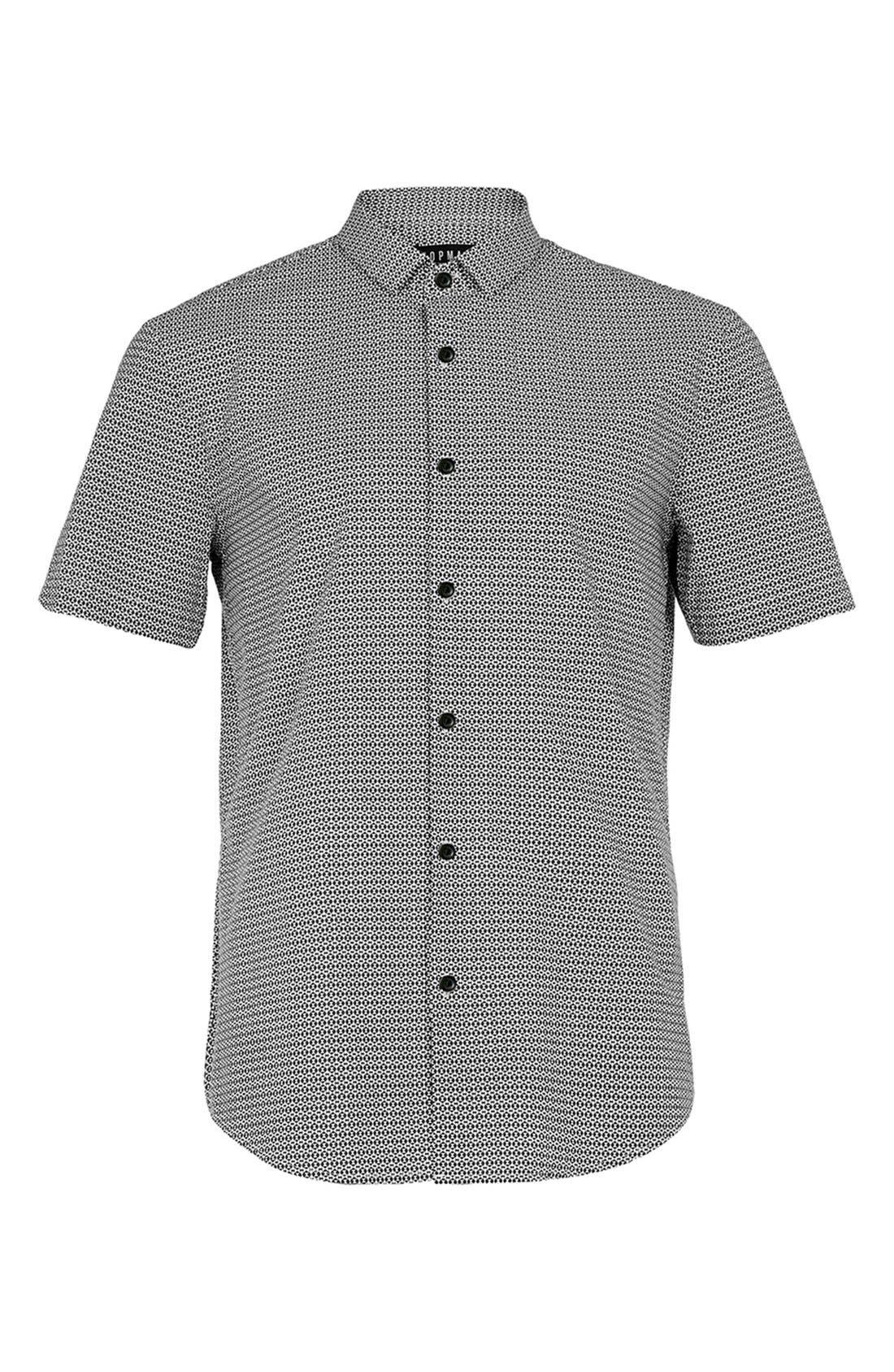 Slim Fit Short Sleeve Geo Print Shirt,                             Alternate thumbnail 3, color,                             001