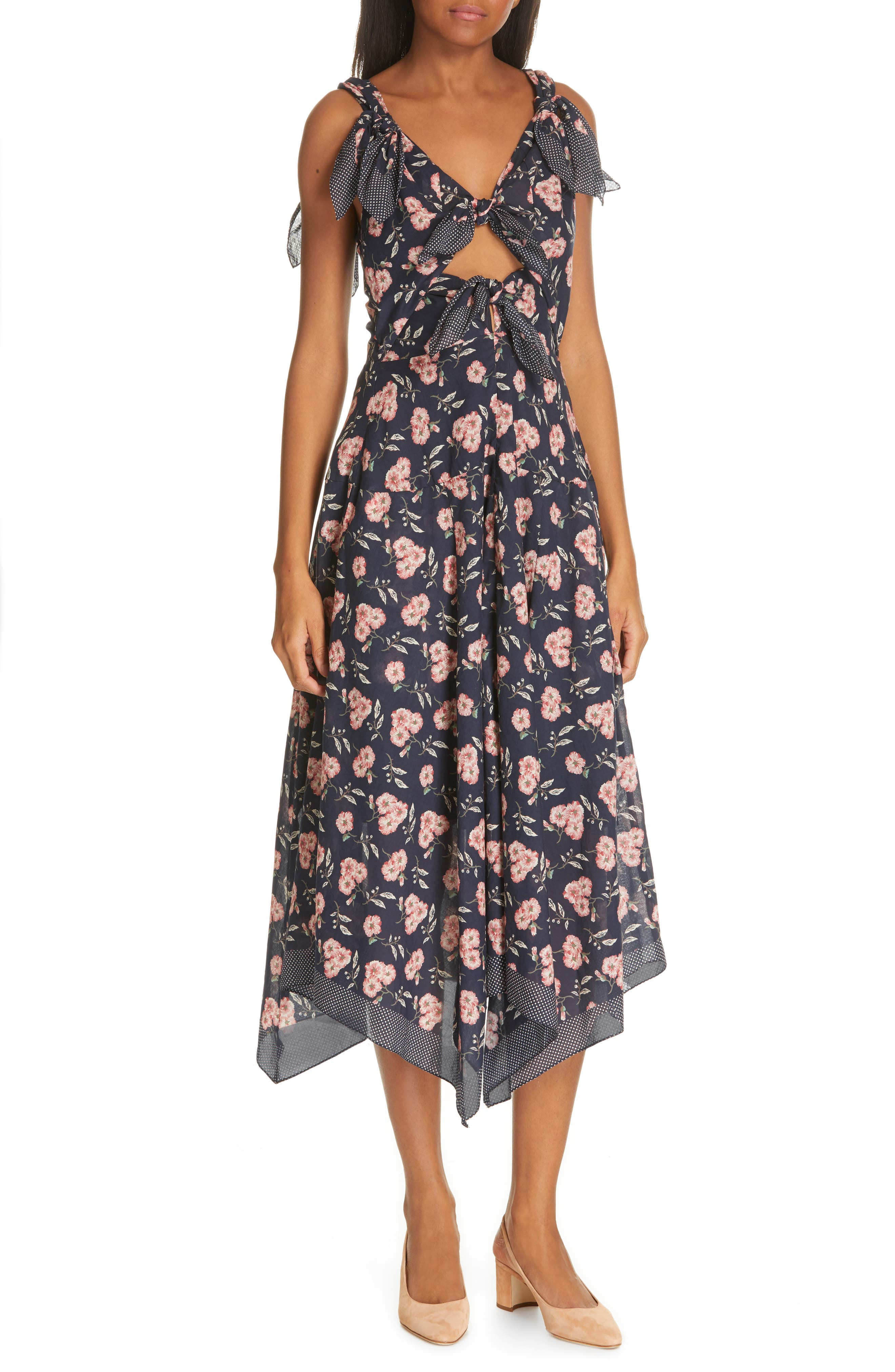La Vie Rebecca Taylor Adelle Floral Tie Detail Dress, Blue