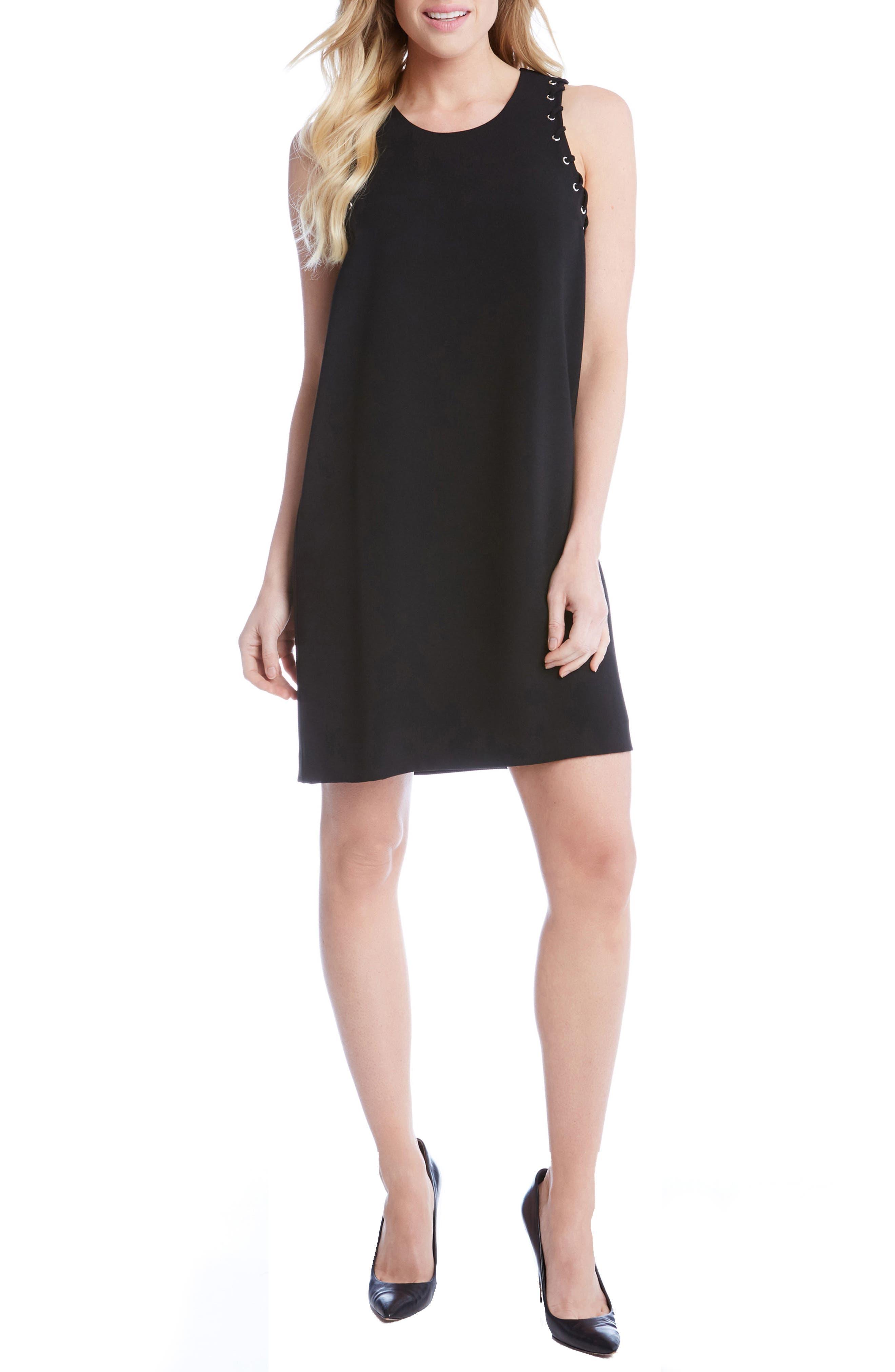 Grommet Detail Crepe Shift Dress,                         Main,                         color, 001