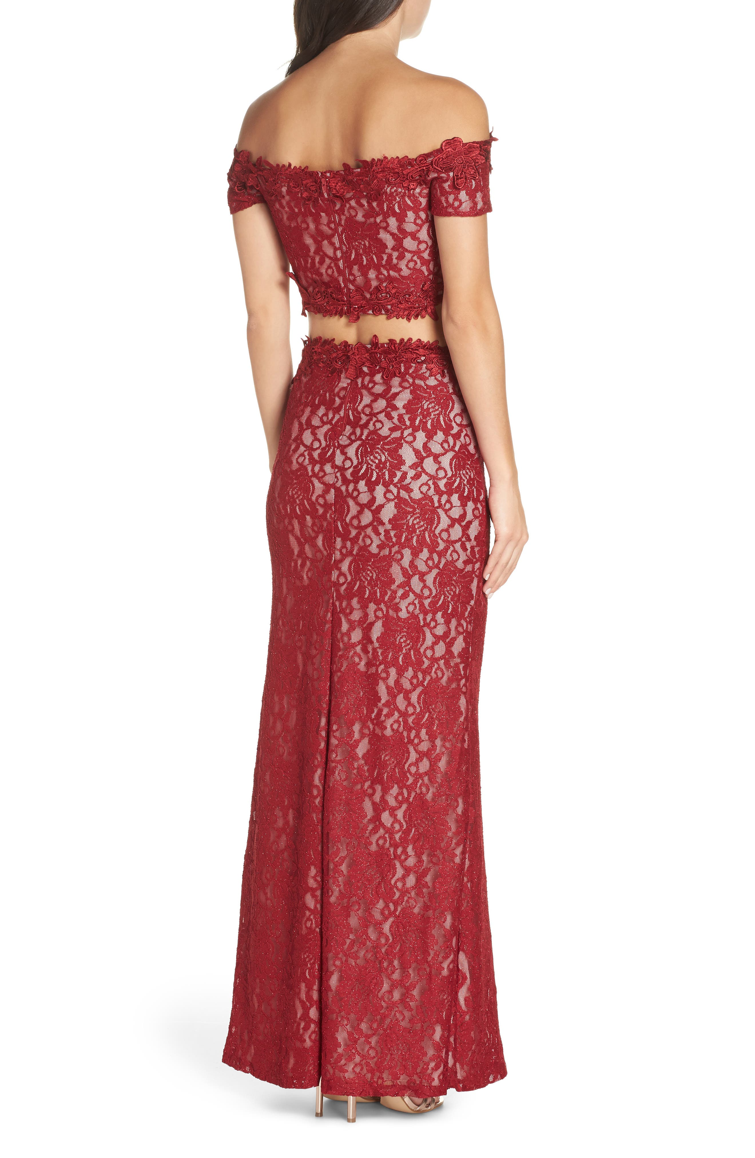 Two-Piece Off the Shoulder Lace Gown,                             Alternate thumbnail 2, color,                             WINE