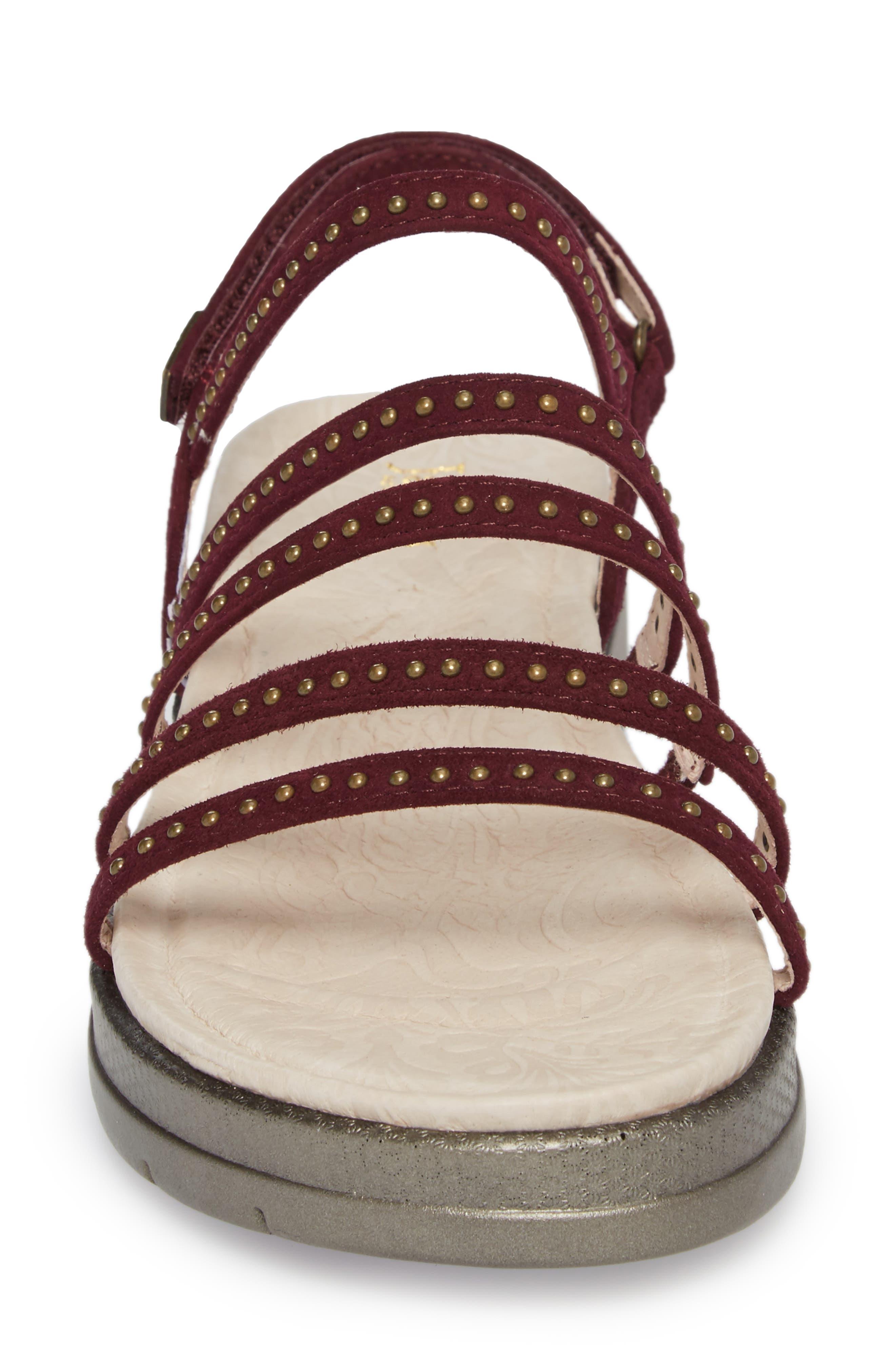Elegance Studded Strappy Sandal,                             Alternate thumbnail 4, color,                             WINE SUEDE