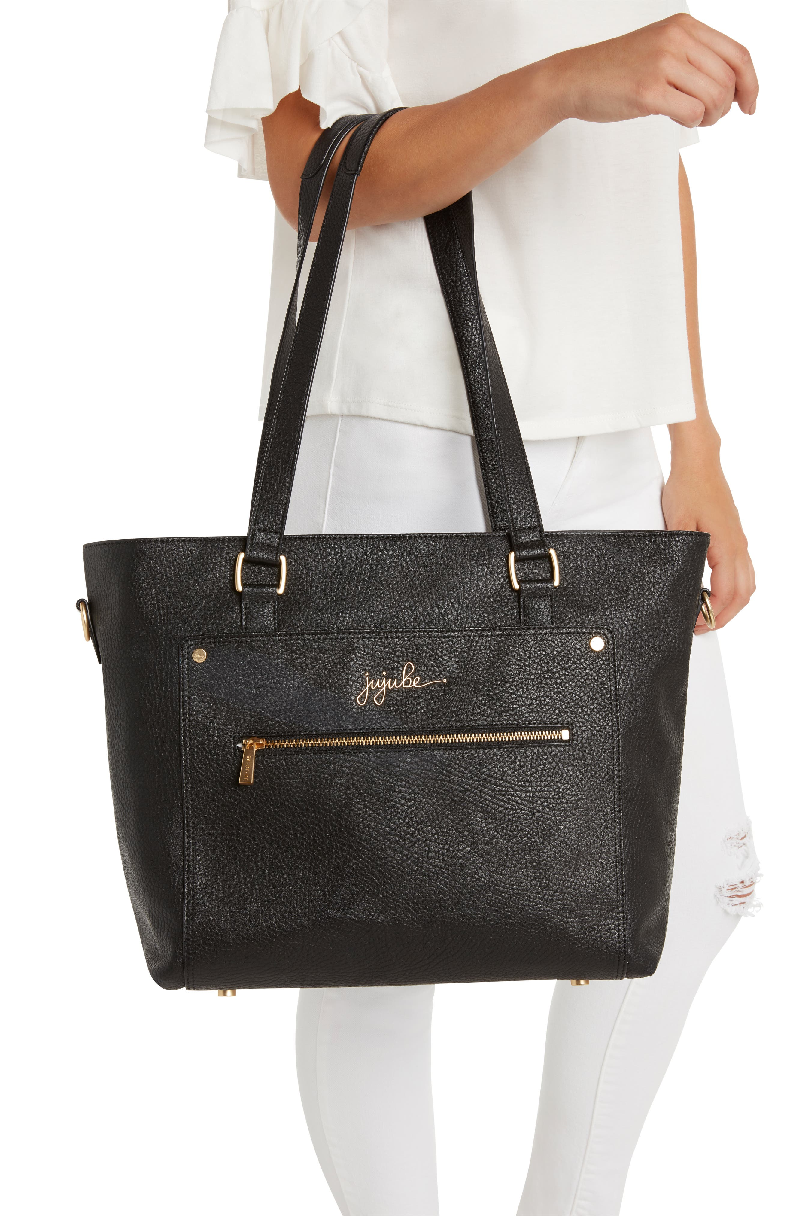 Ever Collection Everyday Faux Leather Diaper Tote,                             Alternate thumbnail 12, color,                             NOIR