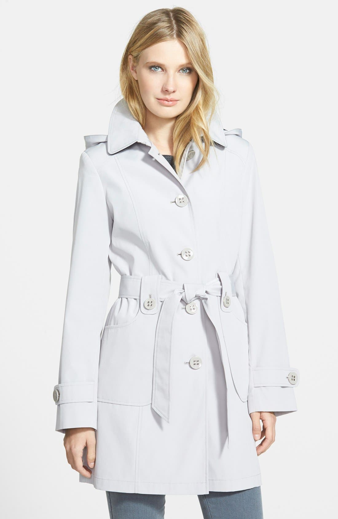 GALLERY Polka Dot Trim Single Breasted Trench Coat, Main, color, 021