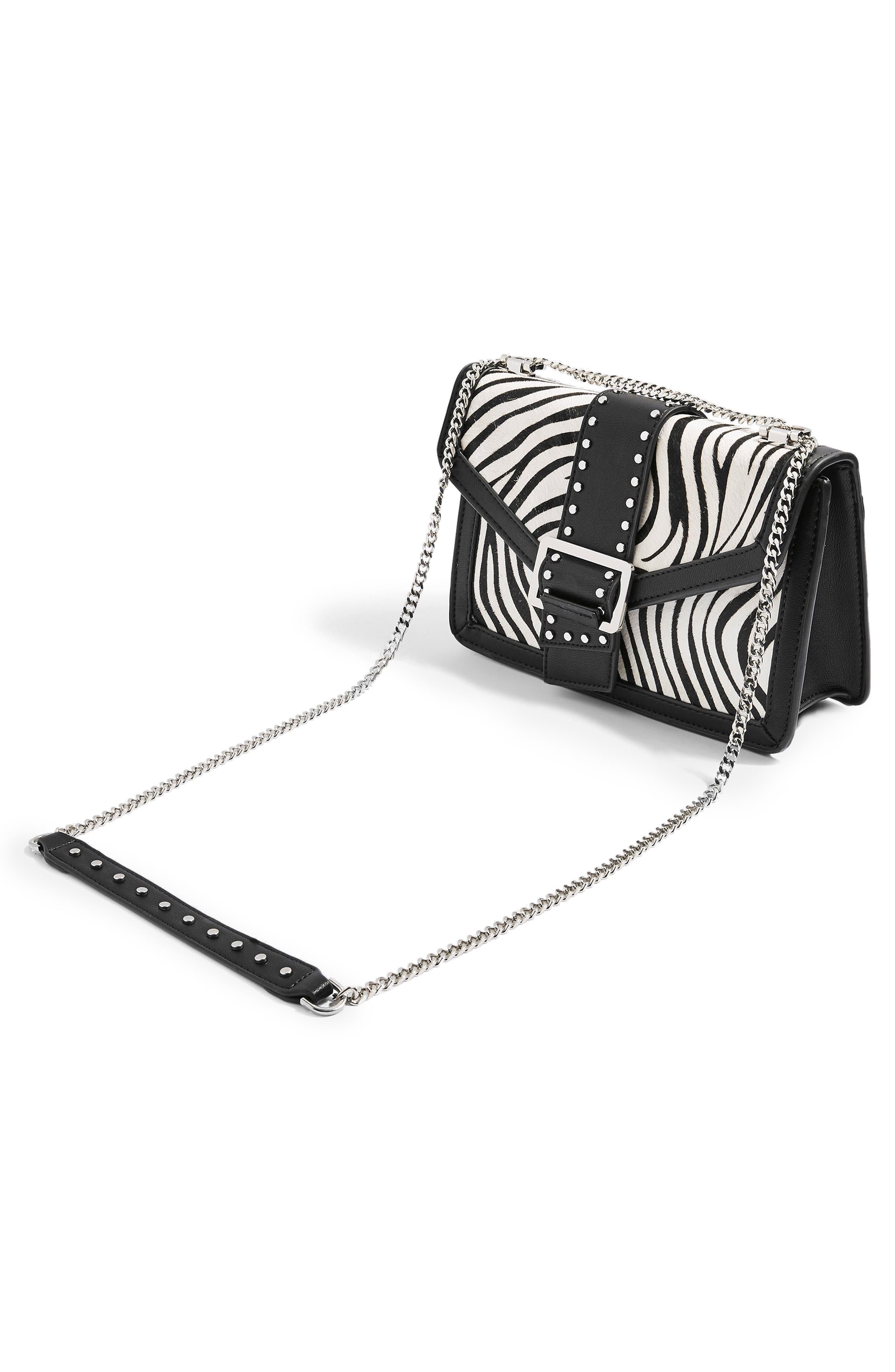 TOPSHOP,                             Seema Studded Genuine Calf Hair Shoulder Bag,                             Alternate thumbnail 5, color,                             002