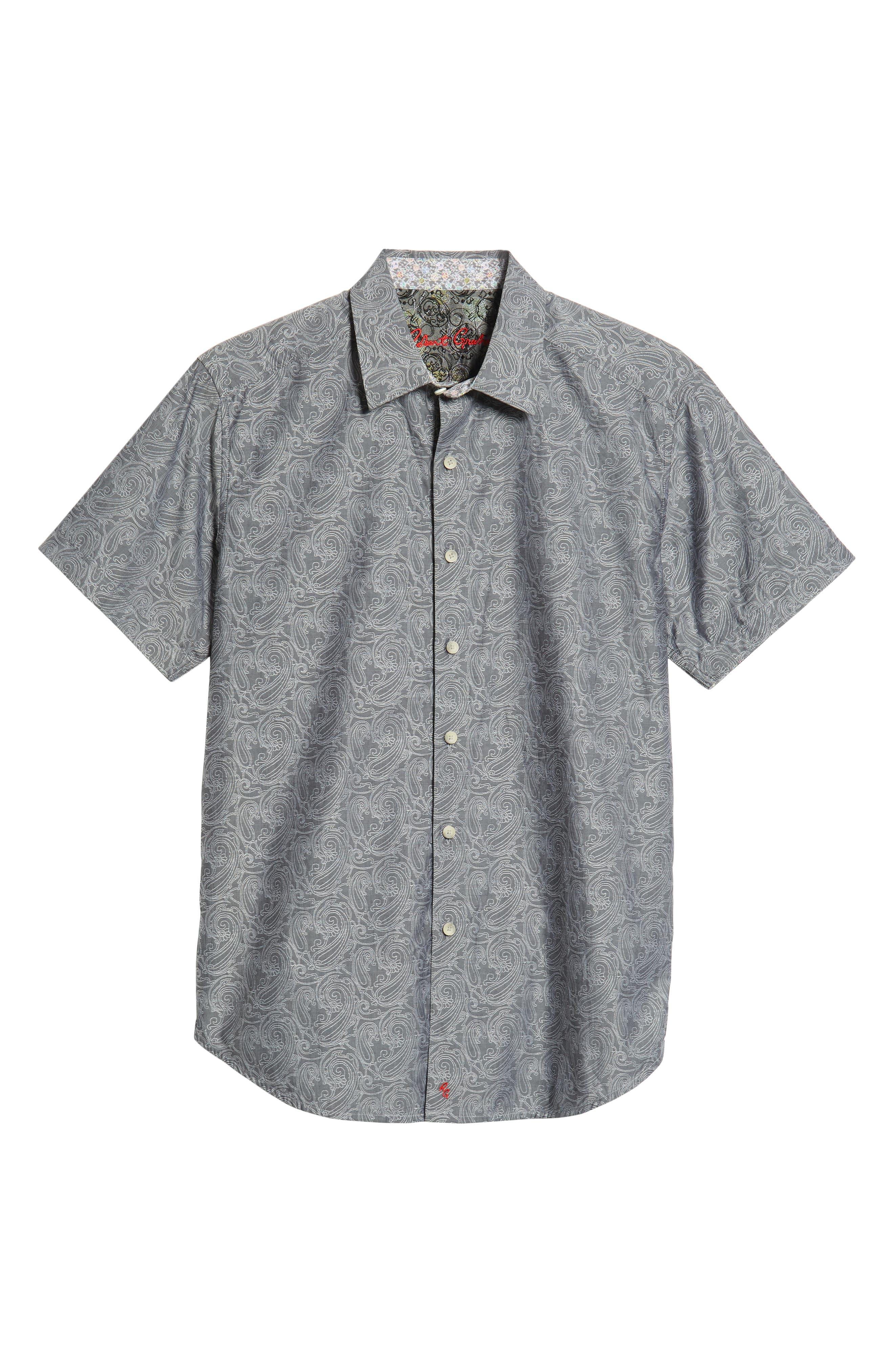 Mainland Classic Fit Paisley Sport Shirt,                             Alternate thumbnail 5, color,                             CHARCOAL