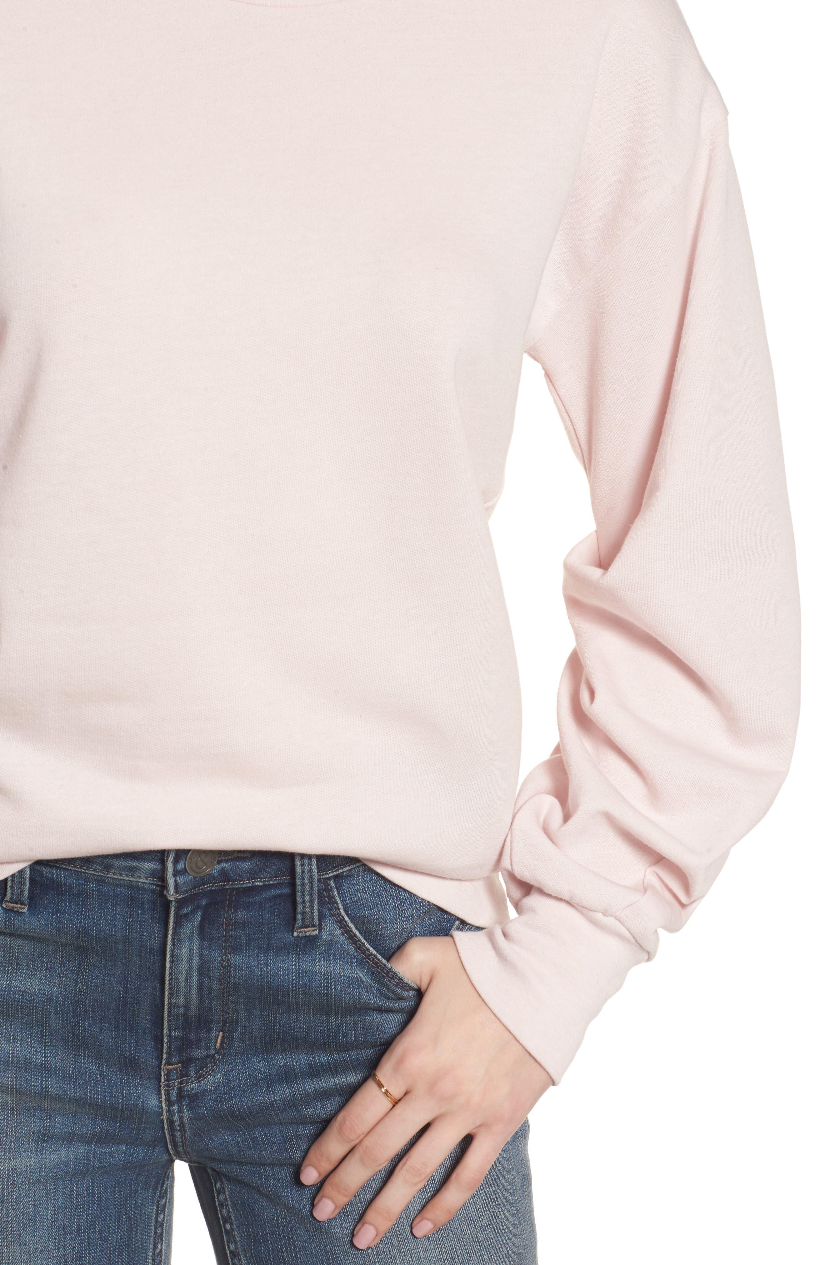 Pleated Sleeve Sweatshirt,                             Alternate thumbnail 8, color,