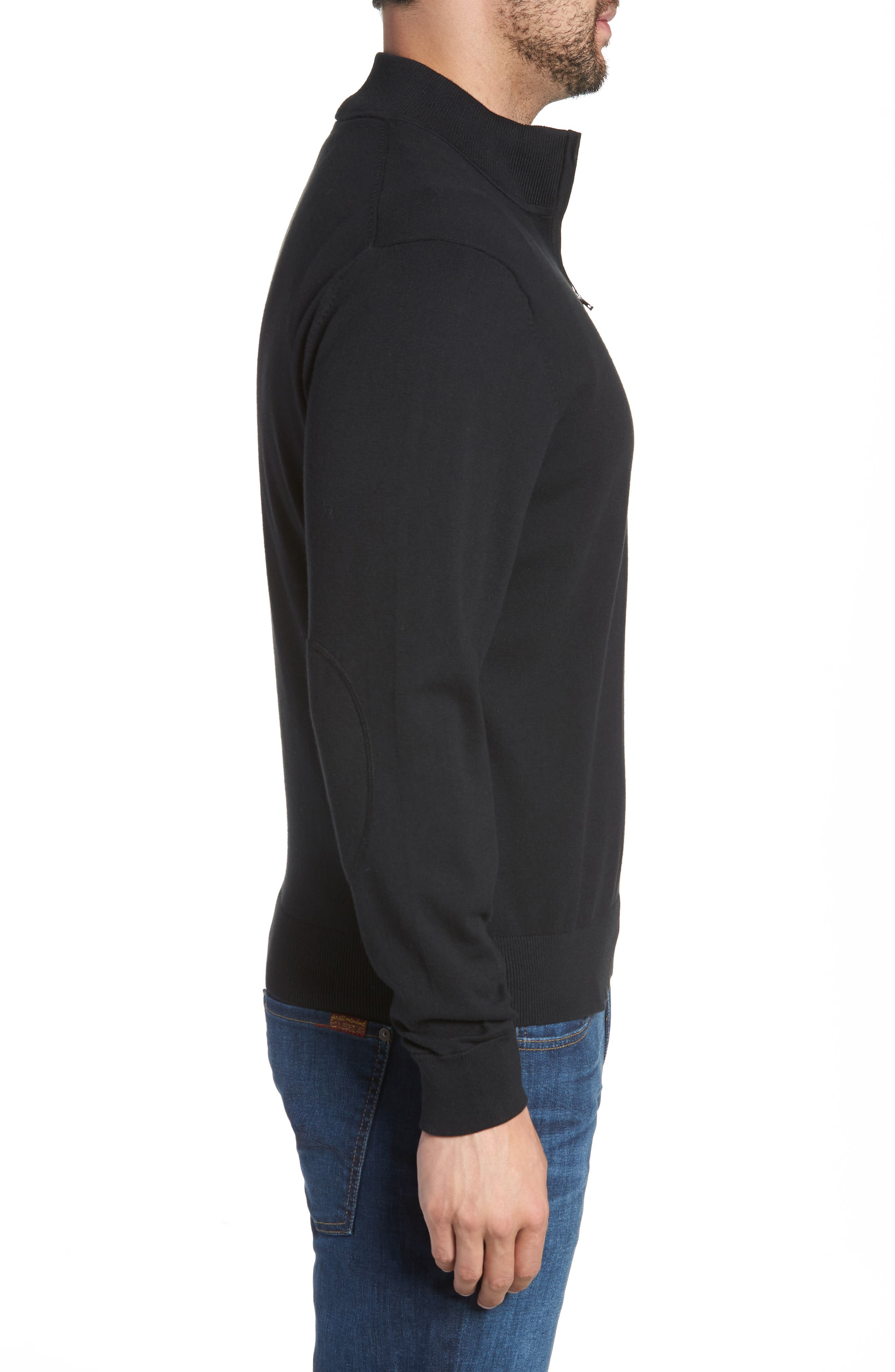 Cleveland Browns - Lakemont Regular Fit Quarter Zip Sweater,                             Alternate thumbnail 3, color,                             BLACK