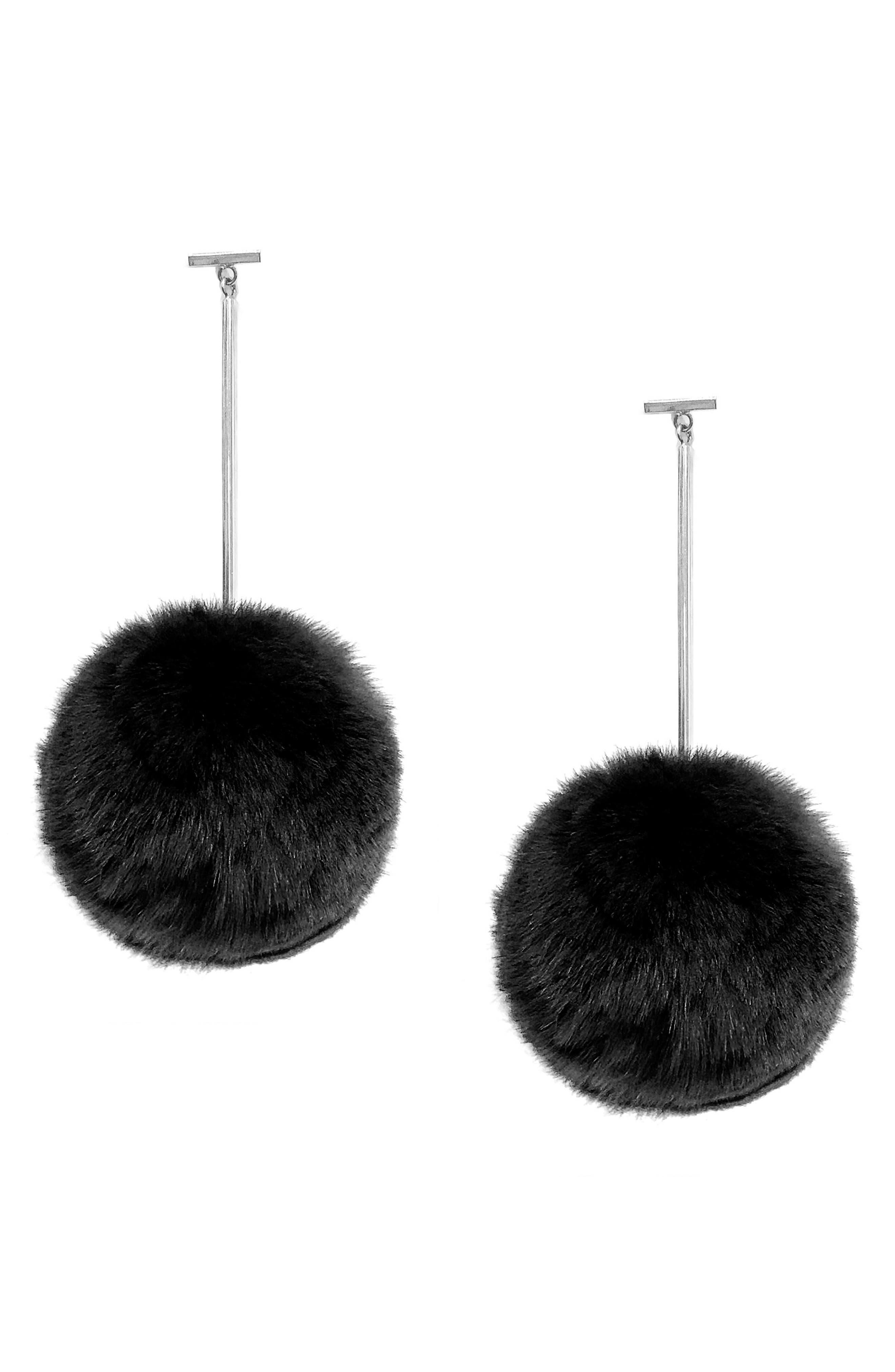 Genuine Rabbit Fur Pompom Drop Earrings,                             Main thumbnail 2, color,