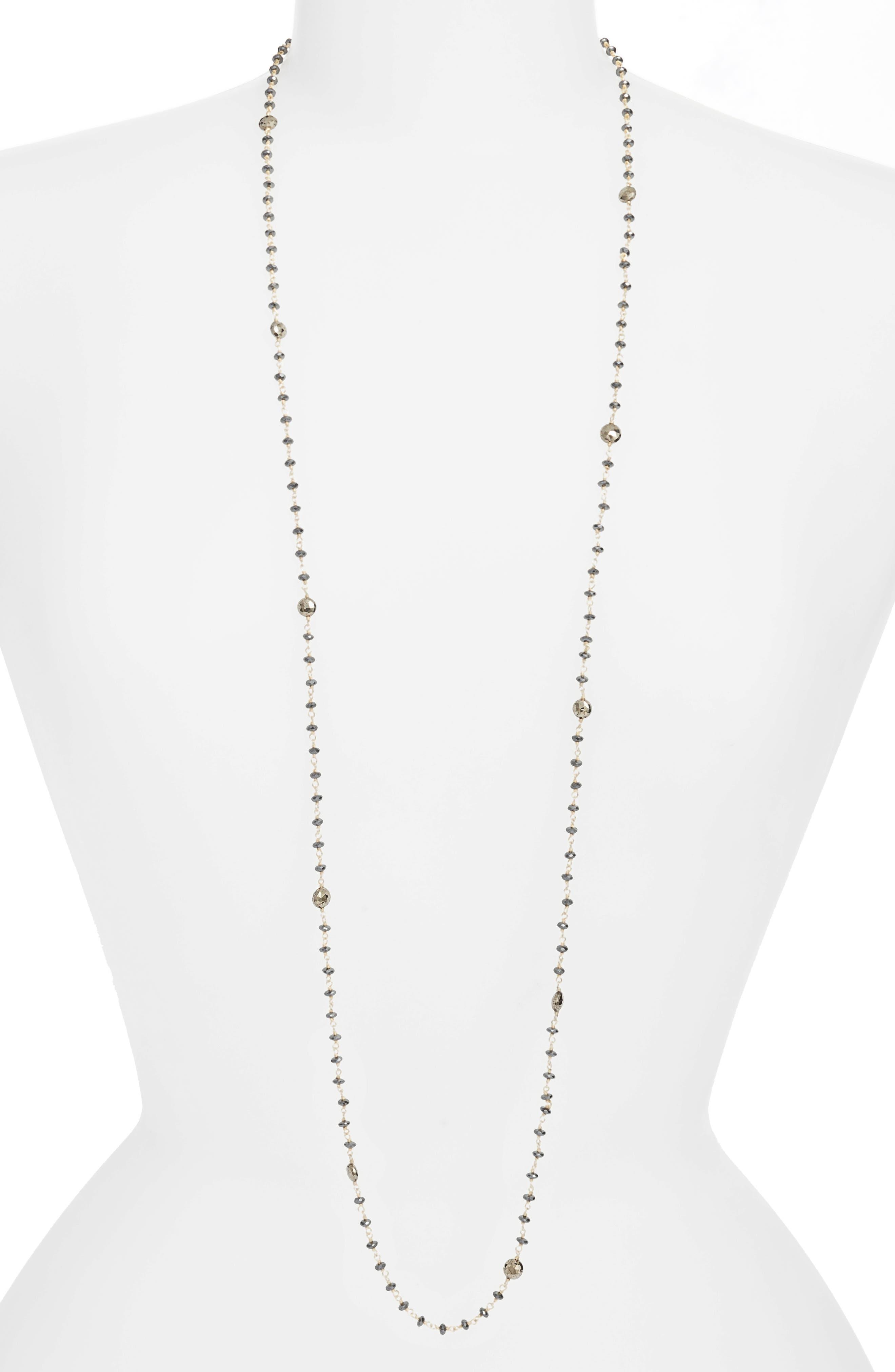 Diana Semiprecious Stone Satellite Necklace,                         Main,                         color, HEMATITE