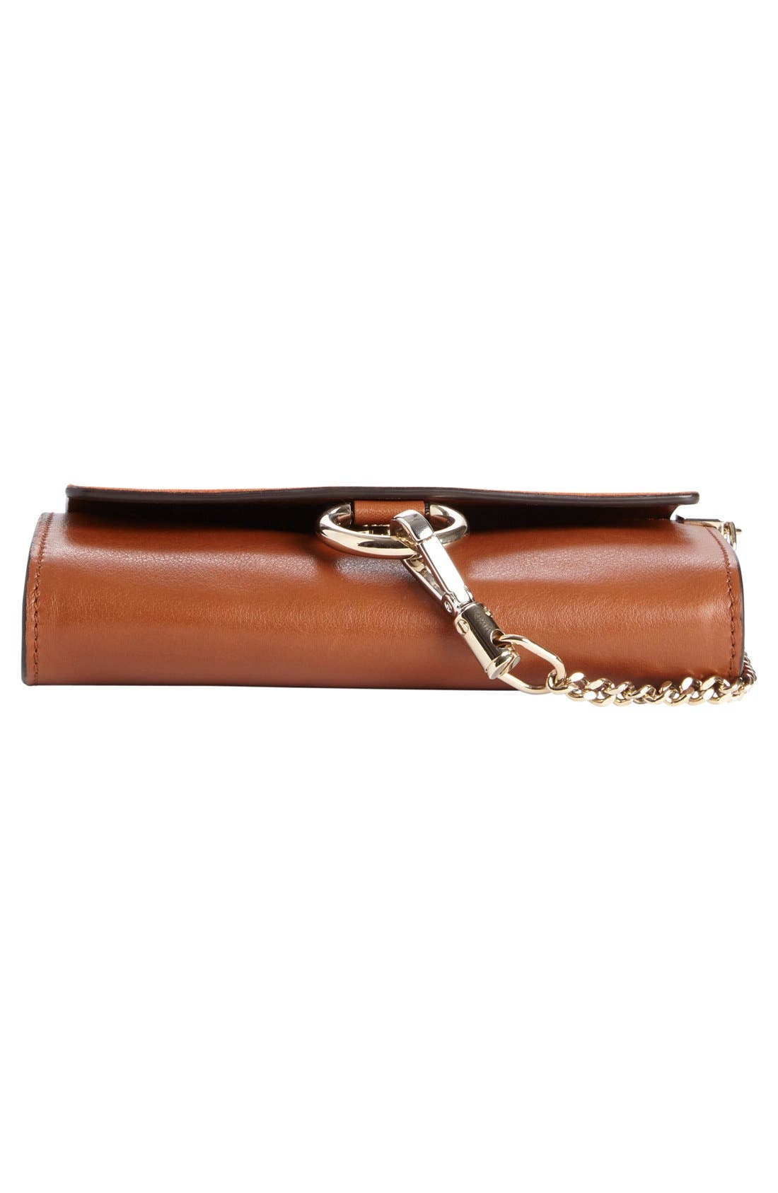 Mini Faye Suede & Leather Wallet on a Chain,                             Alternate thumbnail 6, color,                             CLASSIC TOBACCO