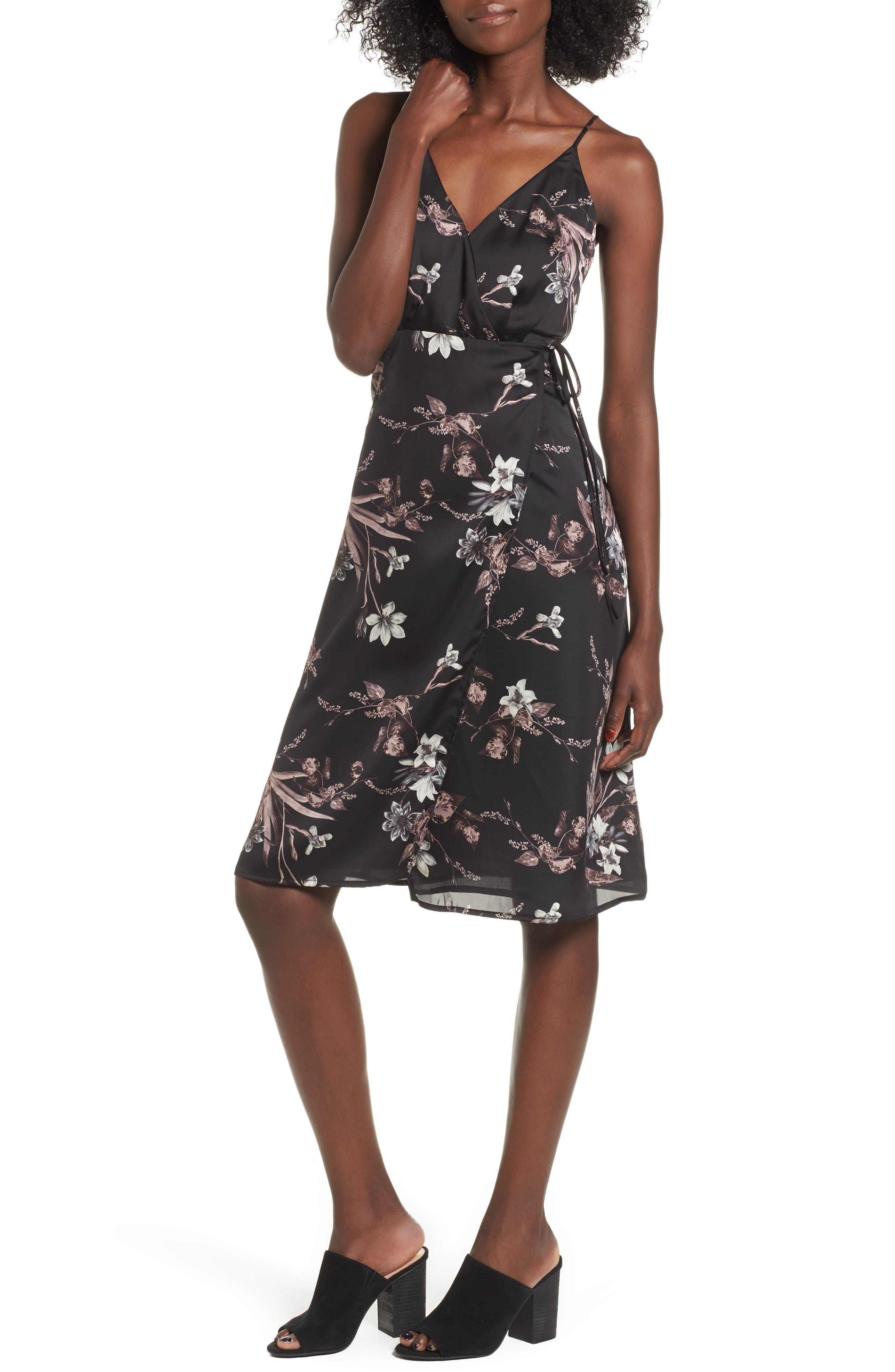 Satin Wrap Dress, Main, color, 001