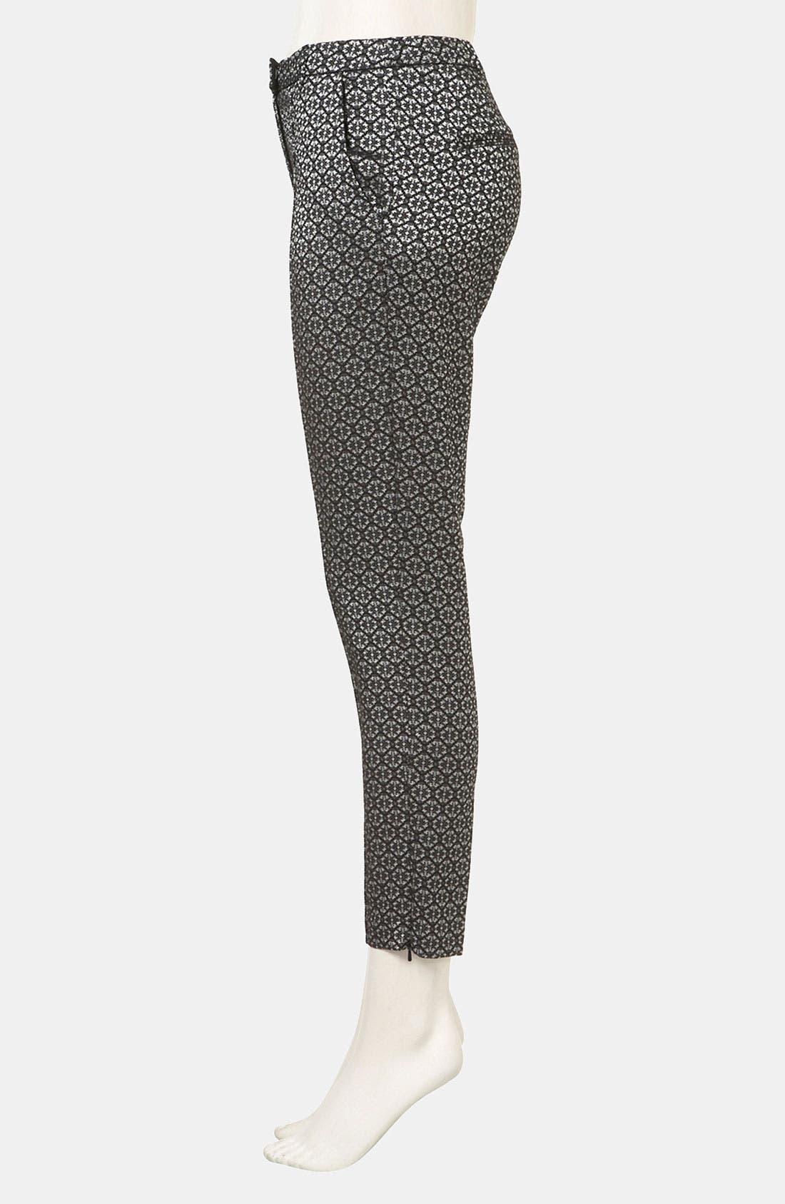 Tile Jacquard Crop Cigarette Pants,                             Alternate thumbnail 4, color,                             001