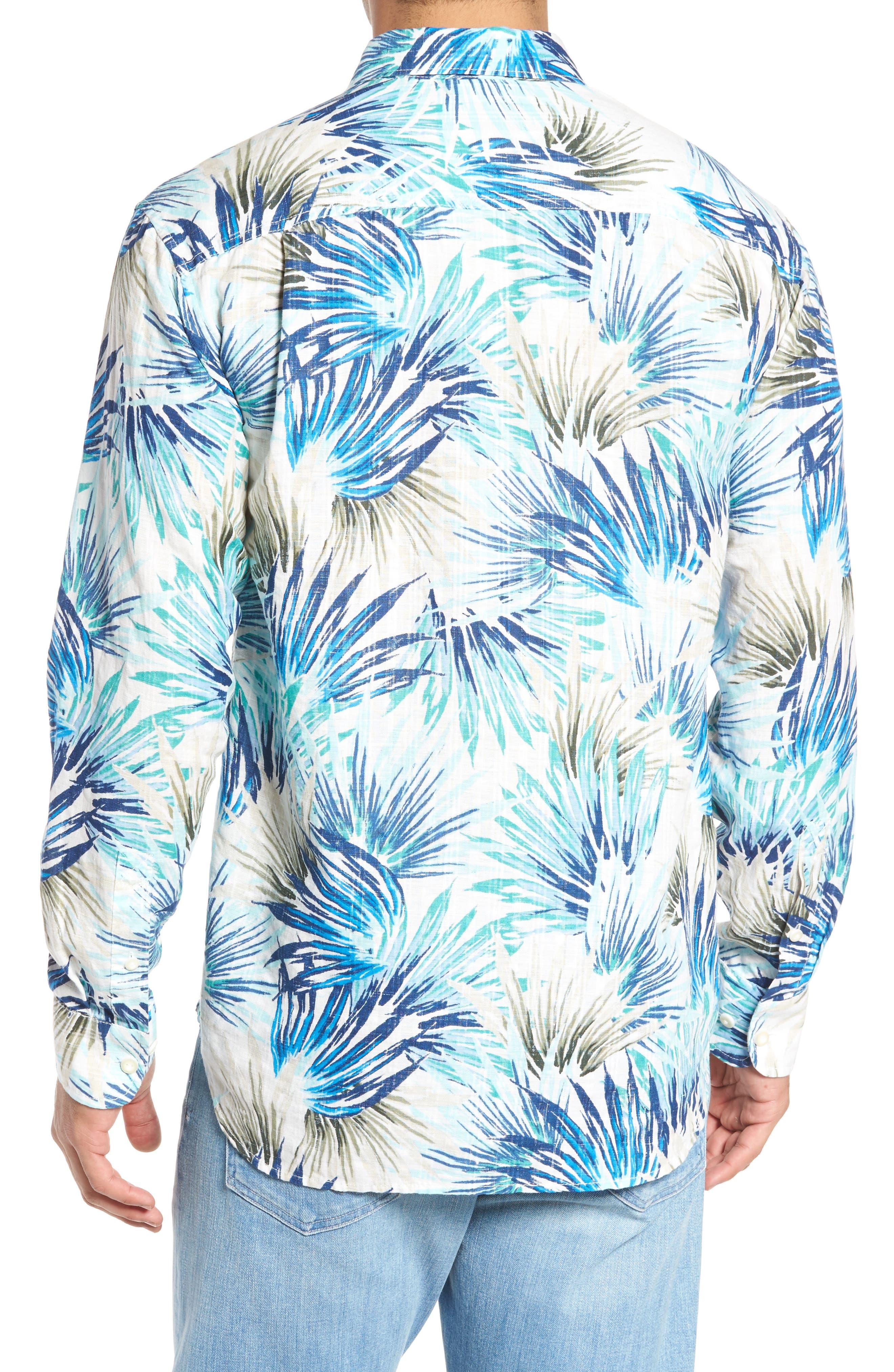 Prism Palms Linen Blend Sport Shirt,                             Alternate thumbnail 2, color,                             400