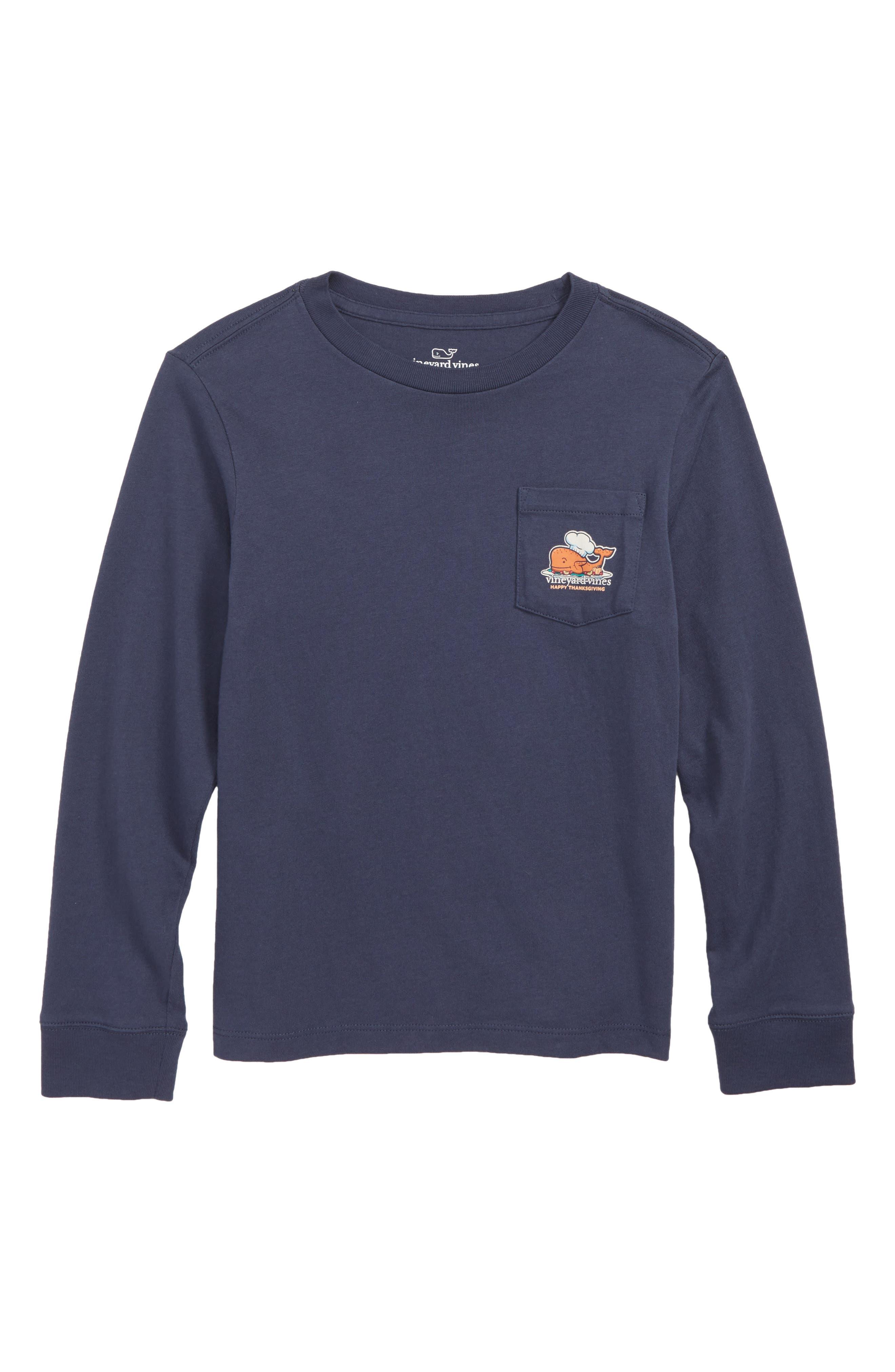 Thanksgiving Turkey Pocket T-Shirt,                             Main thumbnail 1, color,                             BLUE BLAZER
