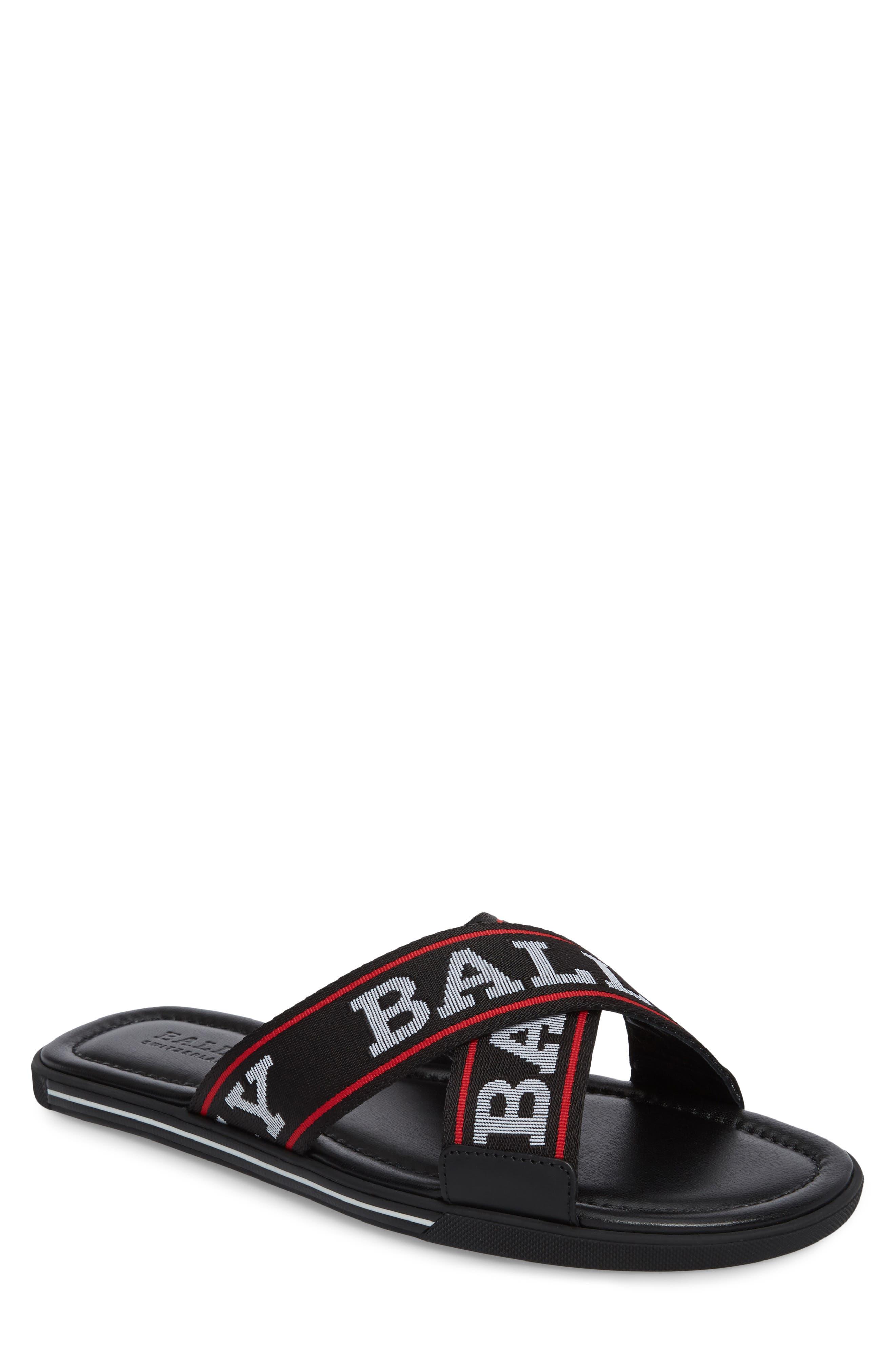 Bonks Logo Slide Sandal,                         Main,                         color, BLACK/ BONE/ RED