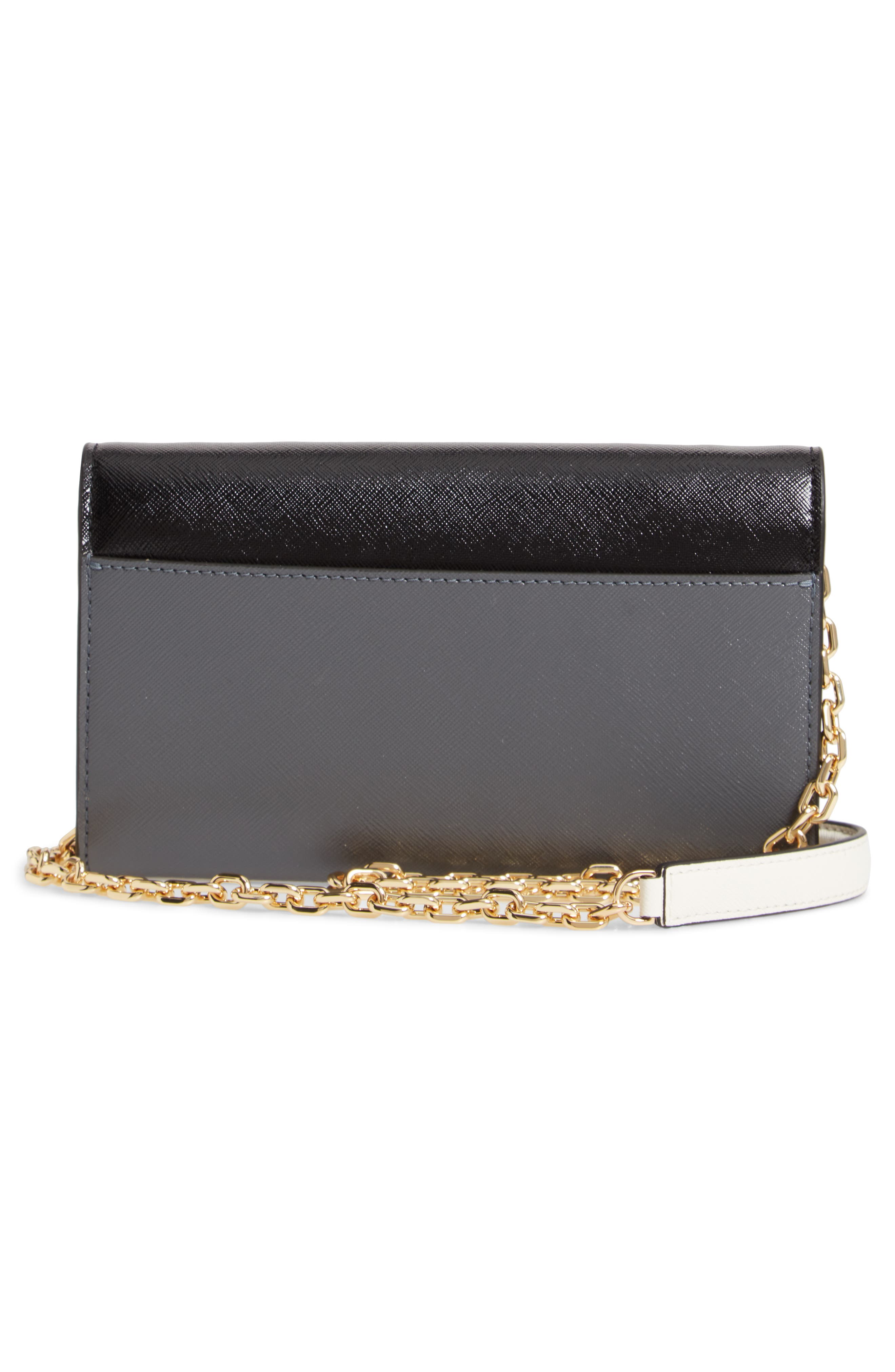 Snapshot Leather Wallet on a Chain,                             Alternate thumbnail 3, color,                             BLACK MULTI