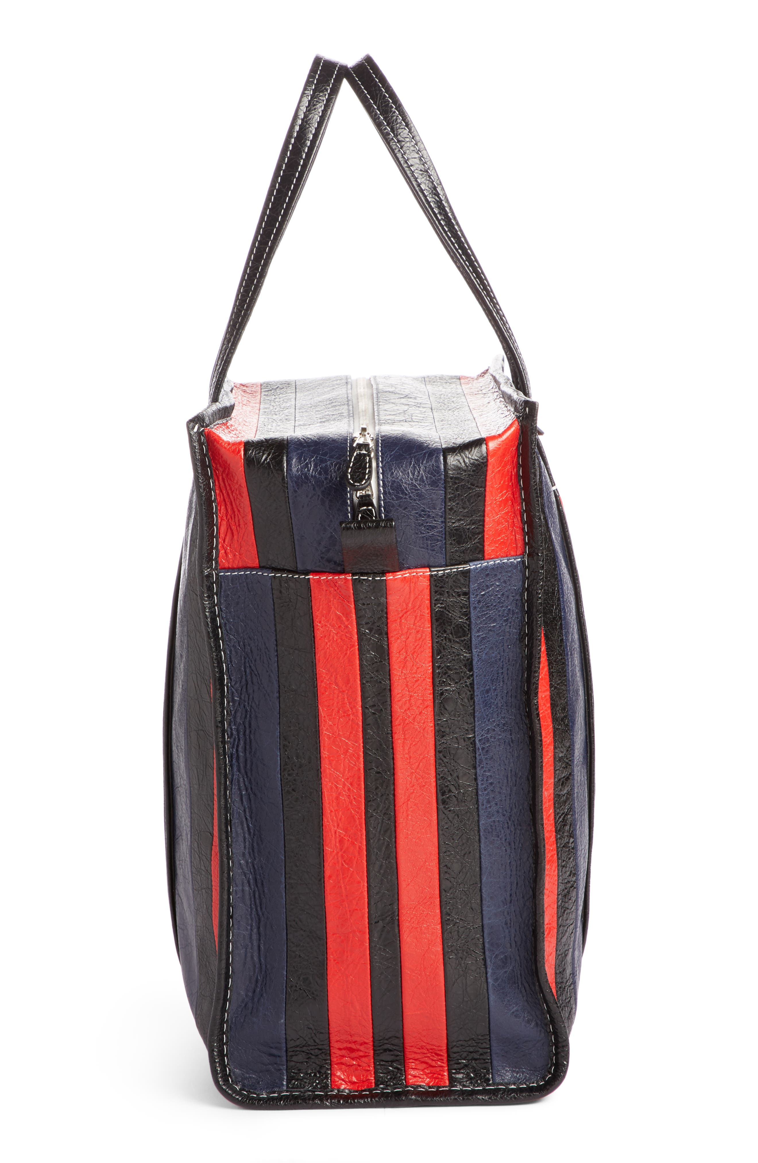 Medium Bazar Stripe Leather Tote,                             Alternate thumbnail 3, color,                             489