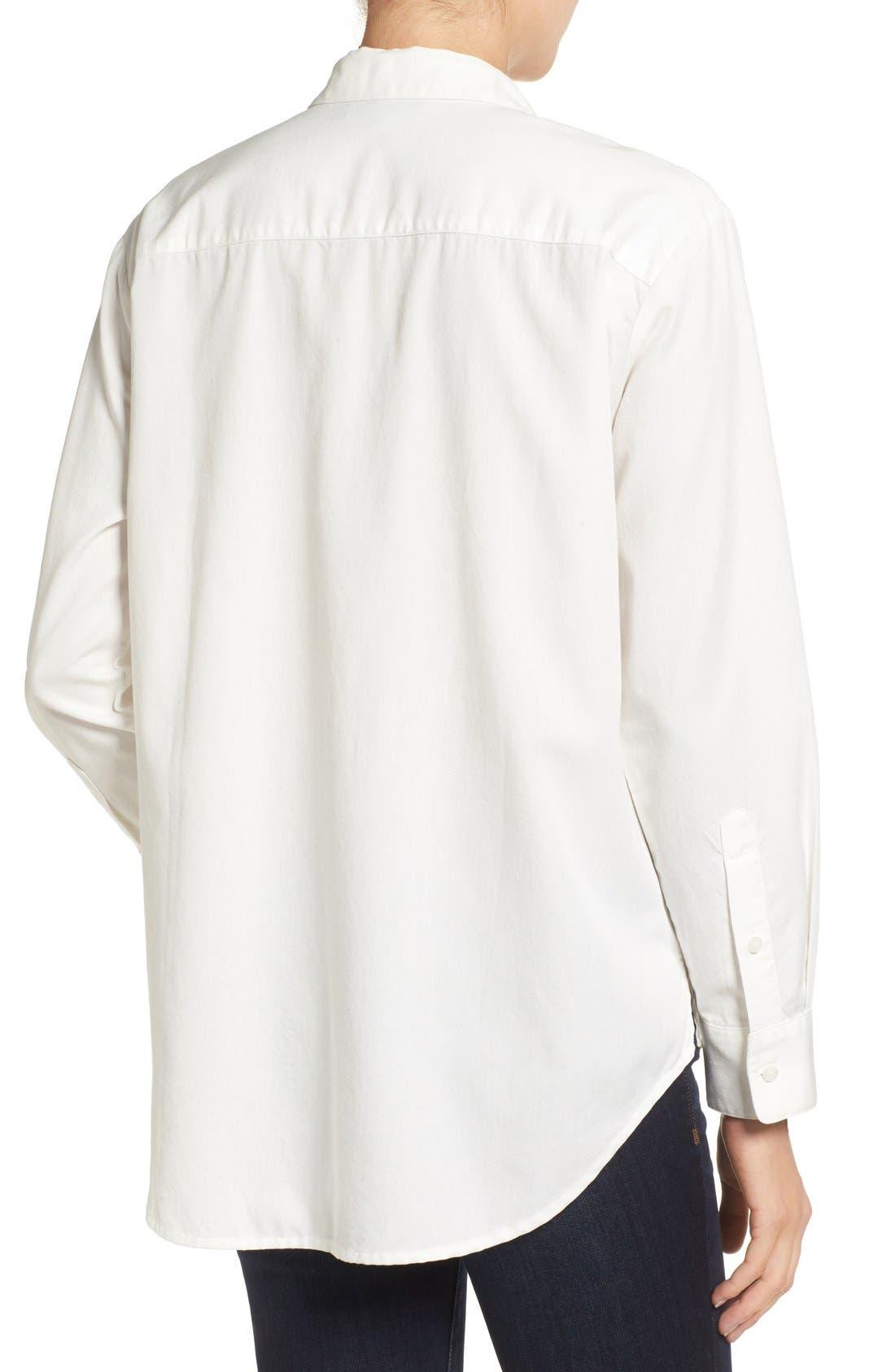 Drapey Oversize Boyshirt,                             Alternate thumbnail 8, color,                             PURE WHITE