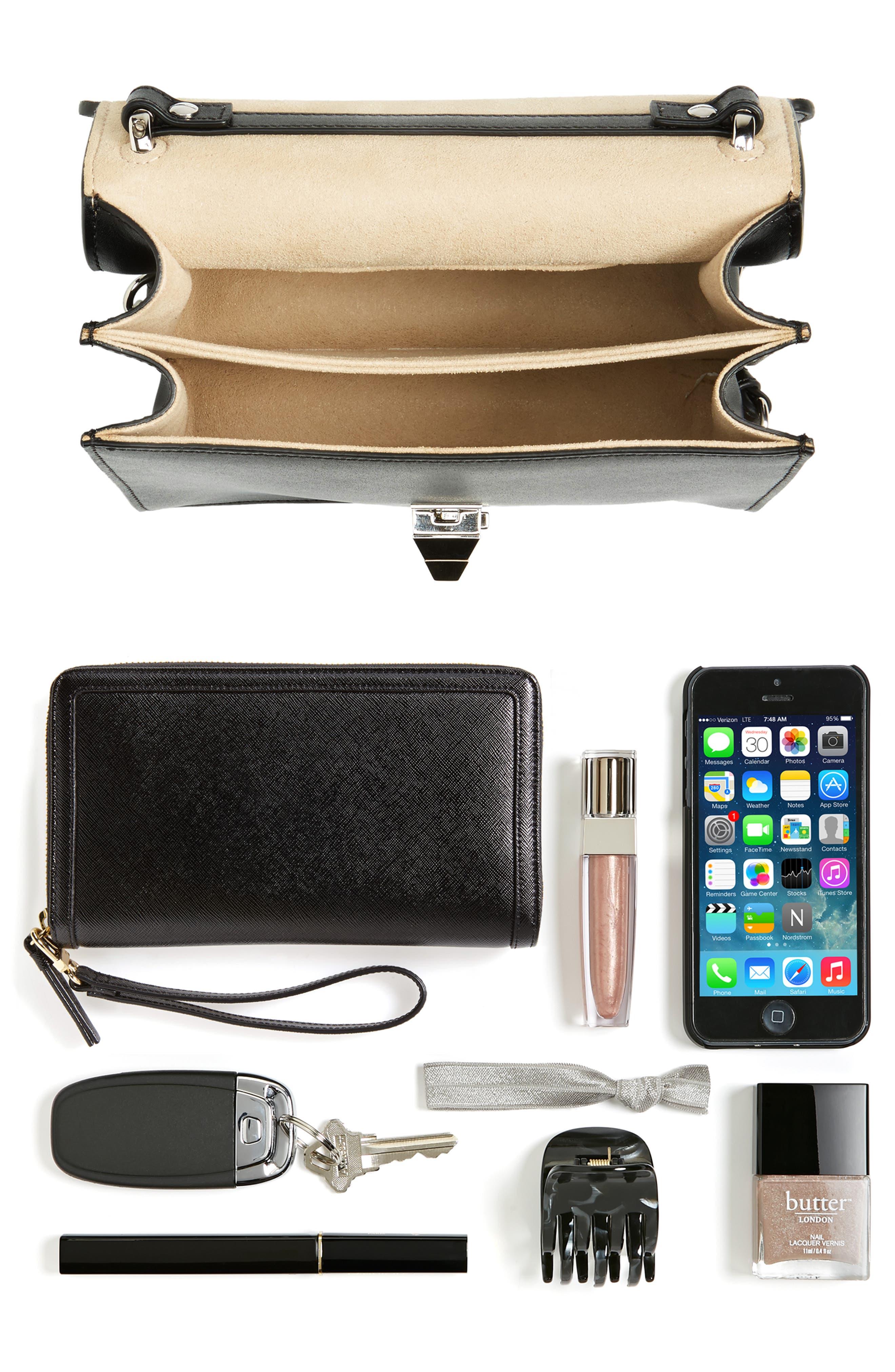 Small Kan I Imitation Pearl Stud Calfskin Shoulder Bag,                             Alternate thumbnail 7, color,                             BLACK