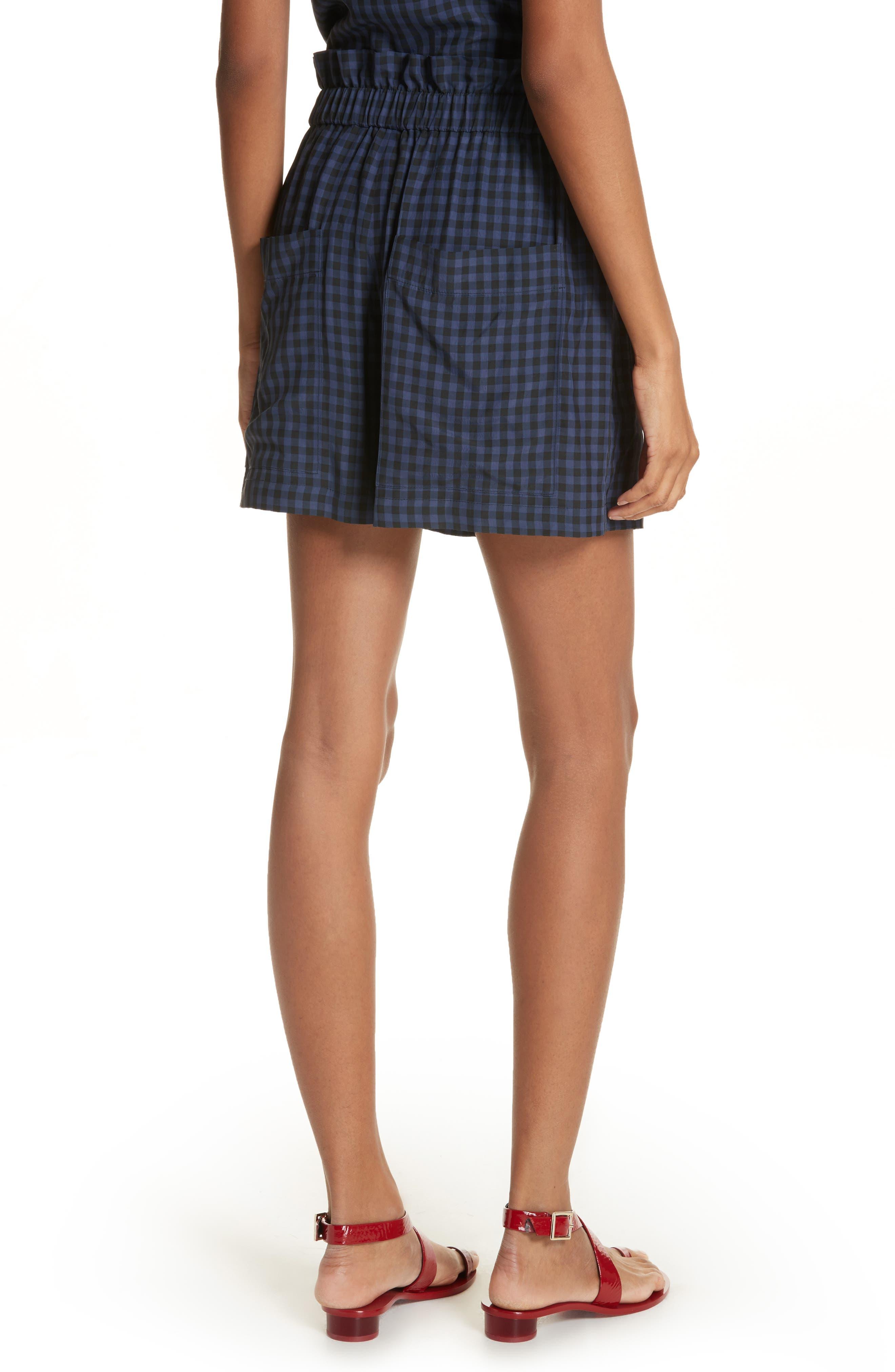 Gingham Paperbag Waist Shorts,                             Alternate thumbnail 2, color,                             NAVY MULTI