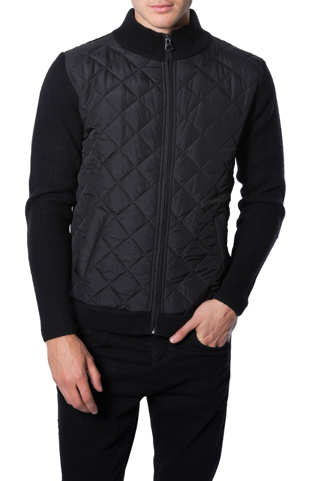 'Gatti' Quilted Panel Lambswool Knit Jacket,                             Main thumbnail 1, color,                             001
